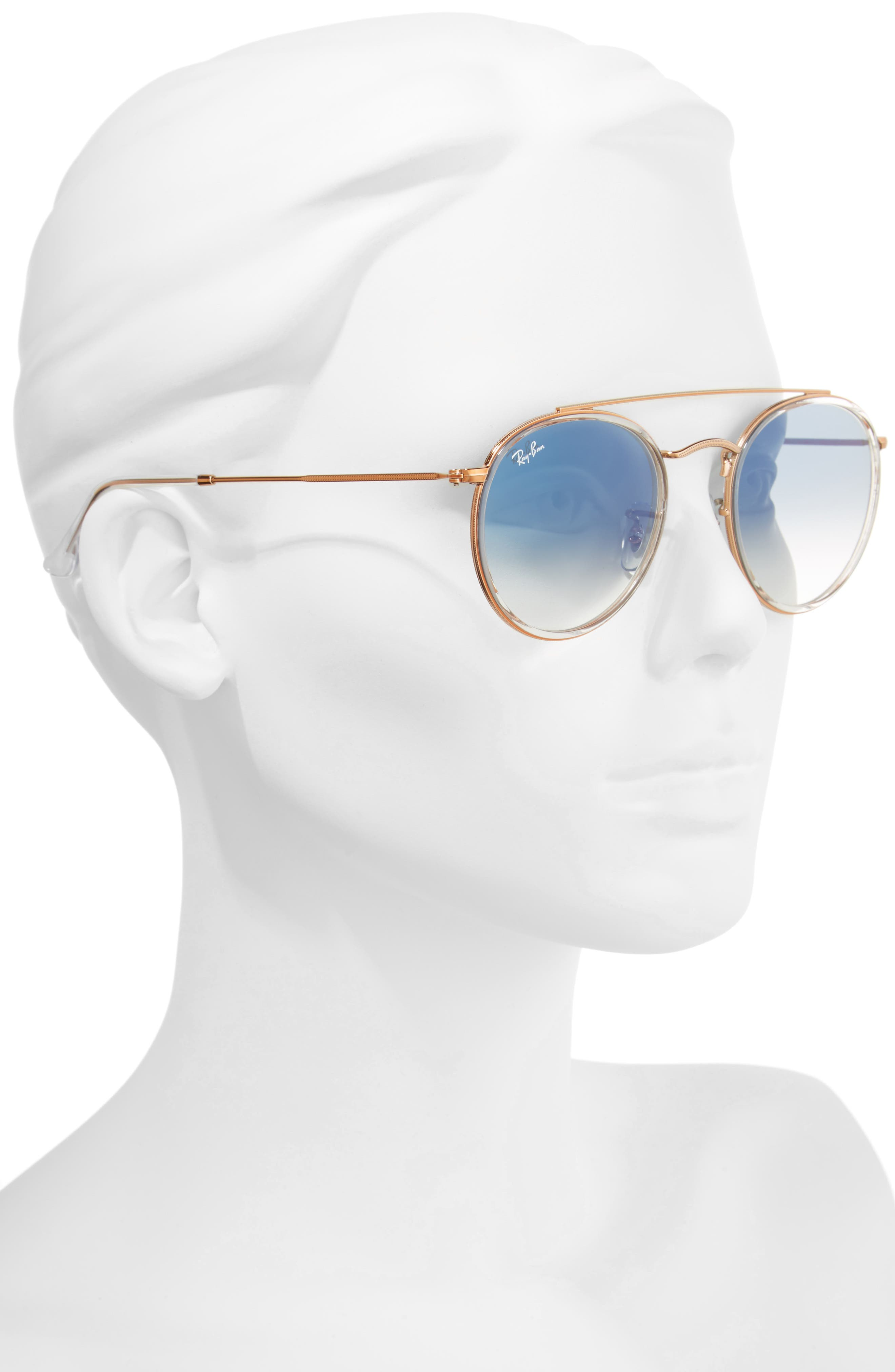 51mm Aviator Gradient Lens Sunglasses,                             Alternate thumbnail 2, color,                             Blue Transparent