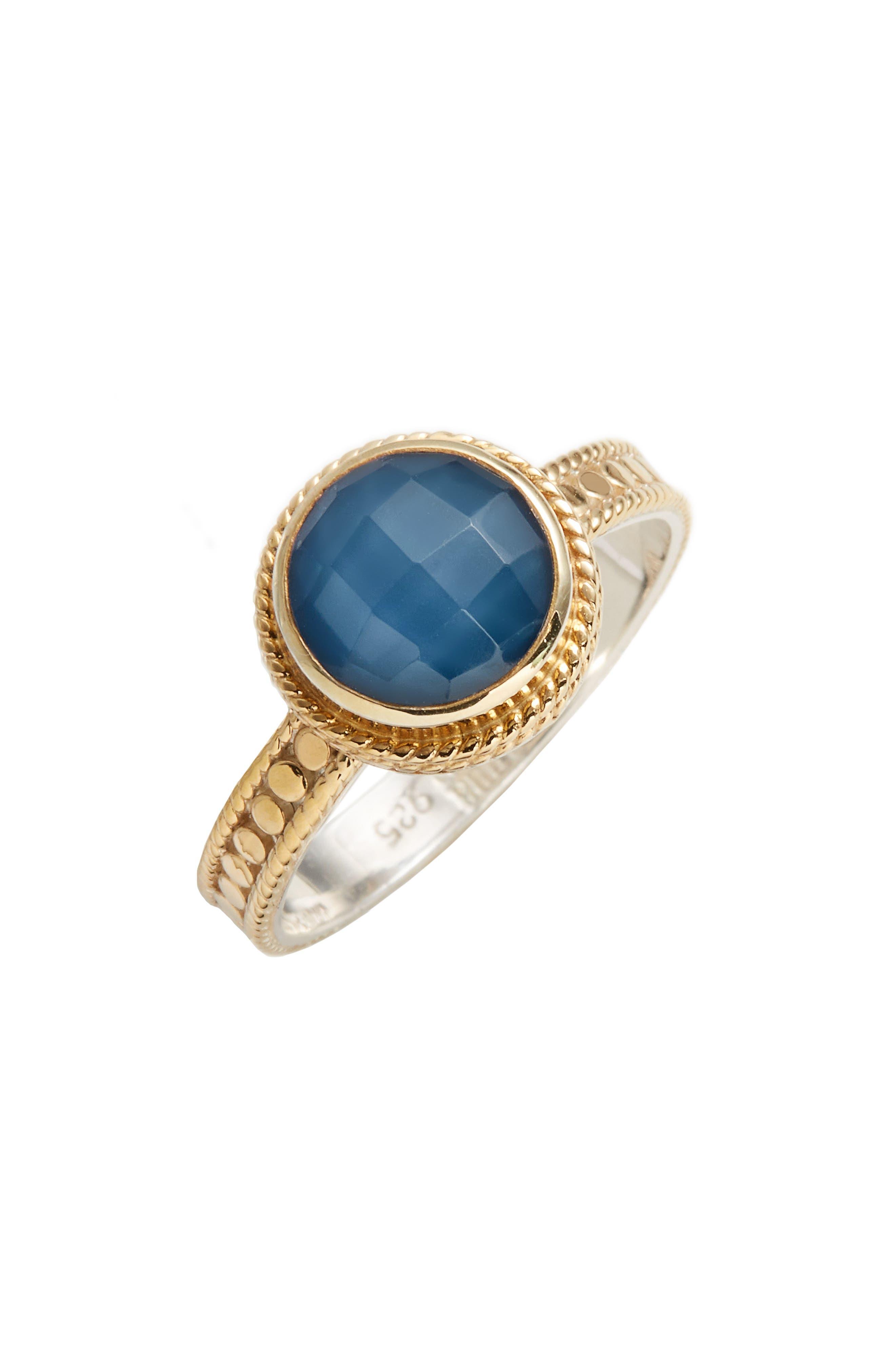 Semiprecious Stone Ring,                         Main,                         color, Gold/ Blue Quartz