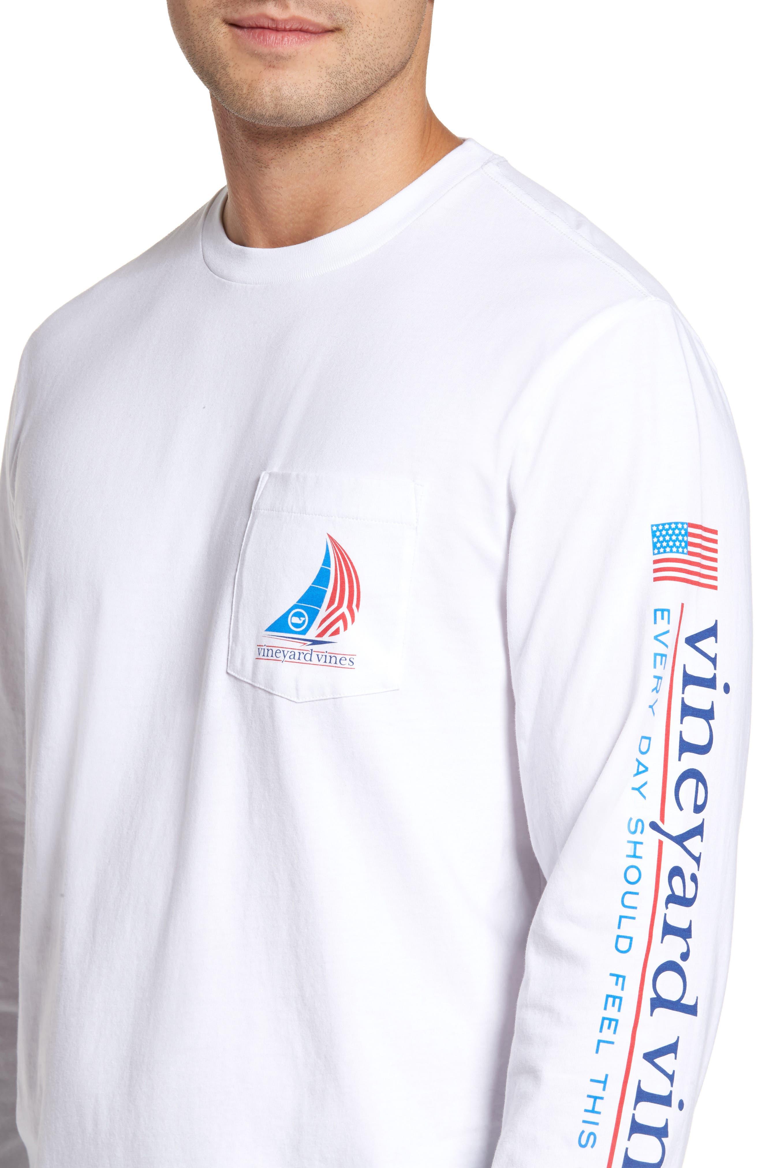Spinnaker Sail Long Sleeve Pocket T-Shirt,                             Alternate thumbnail 4, color,                             White Cap