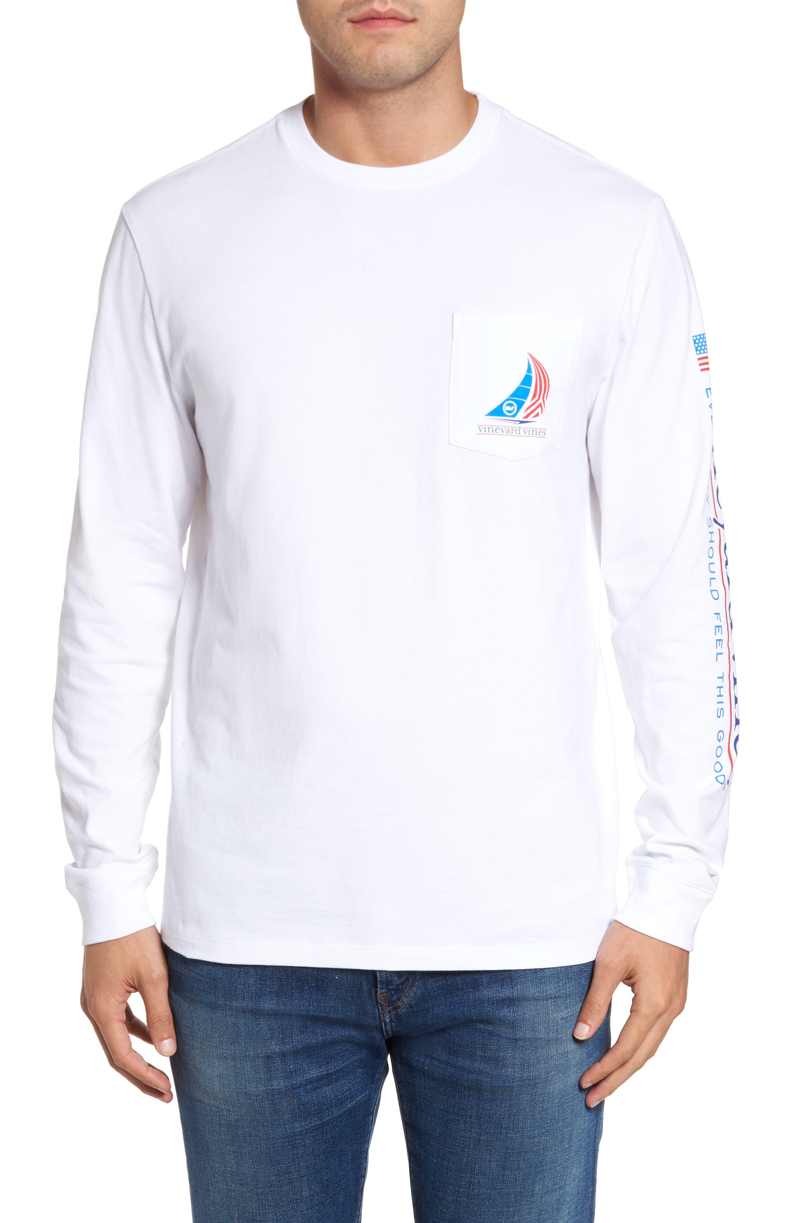Spinnaker Sail Long Sleeve Pocket T-Shirt,                             Alternate thumbnail 2, color,                             White Cap