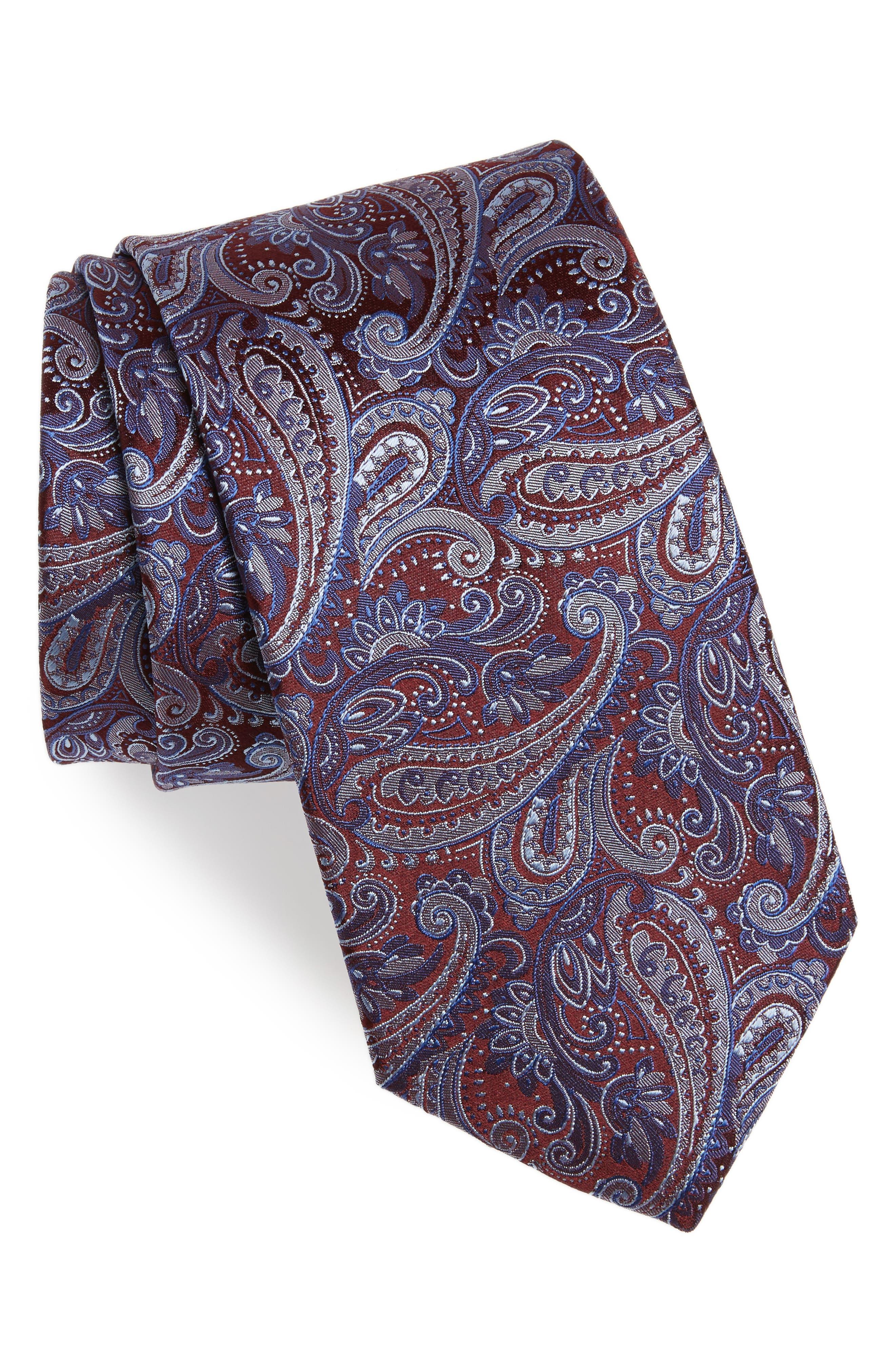 Paisley Silk Tie,                         Main,                         color, Burgundy