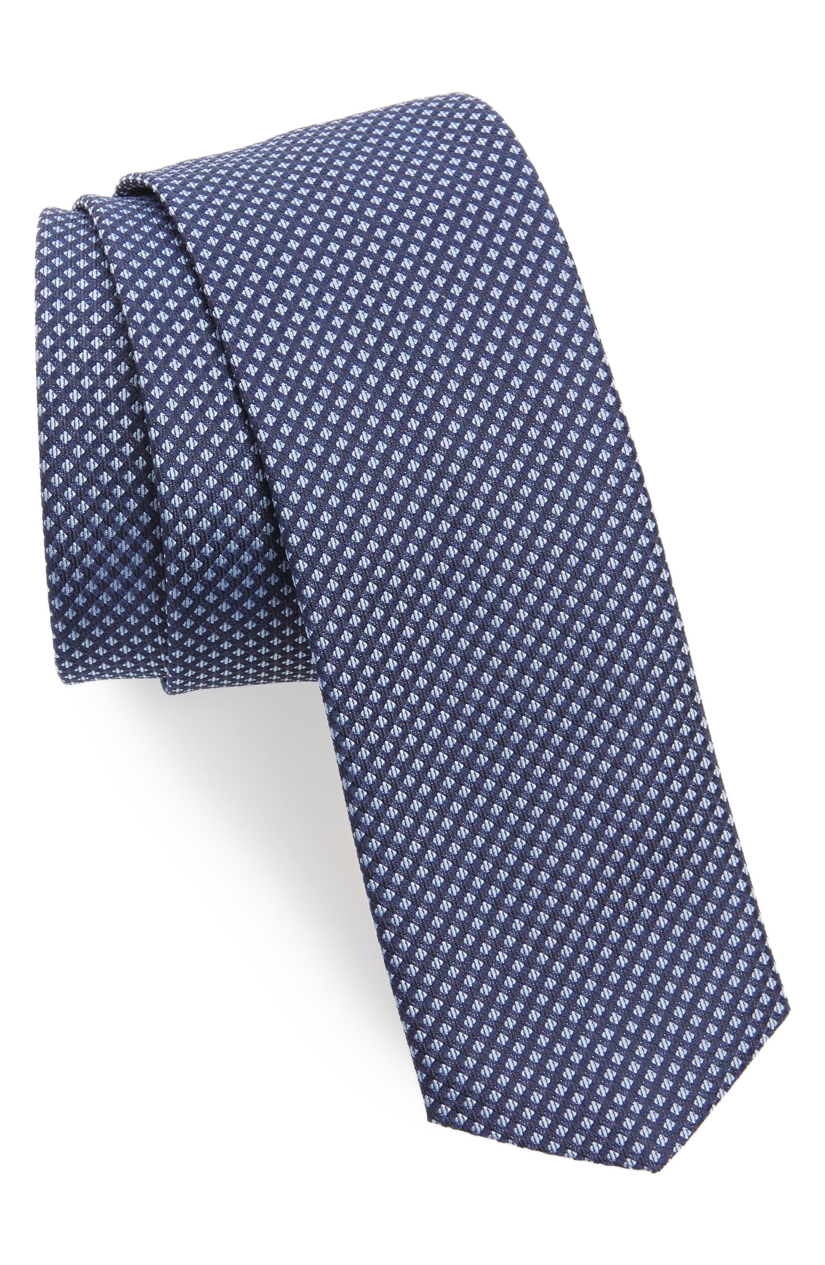 Geometric Silk Skinny Tie,                         Main,                         color, Navy