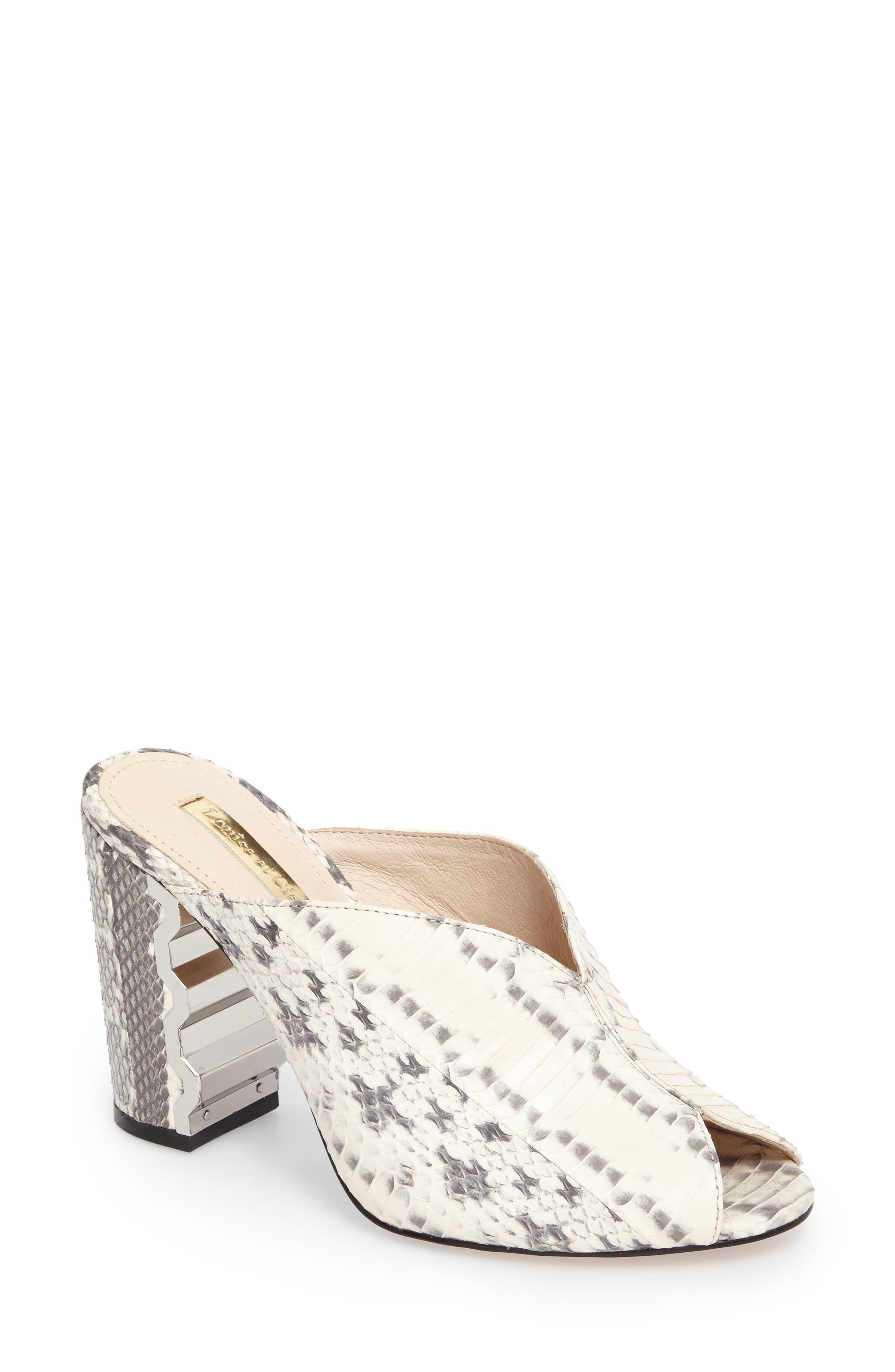 Korella II Block Heel Mule,                         Main,                         color, Black/ White Leather