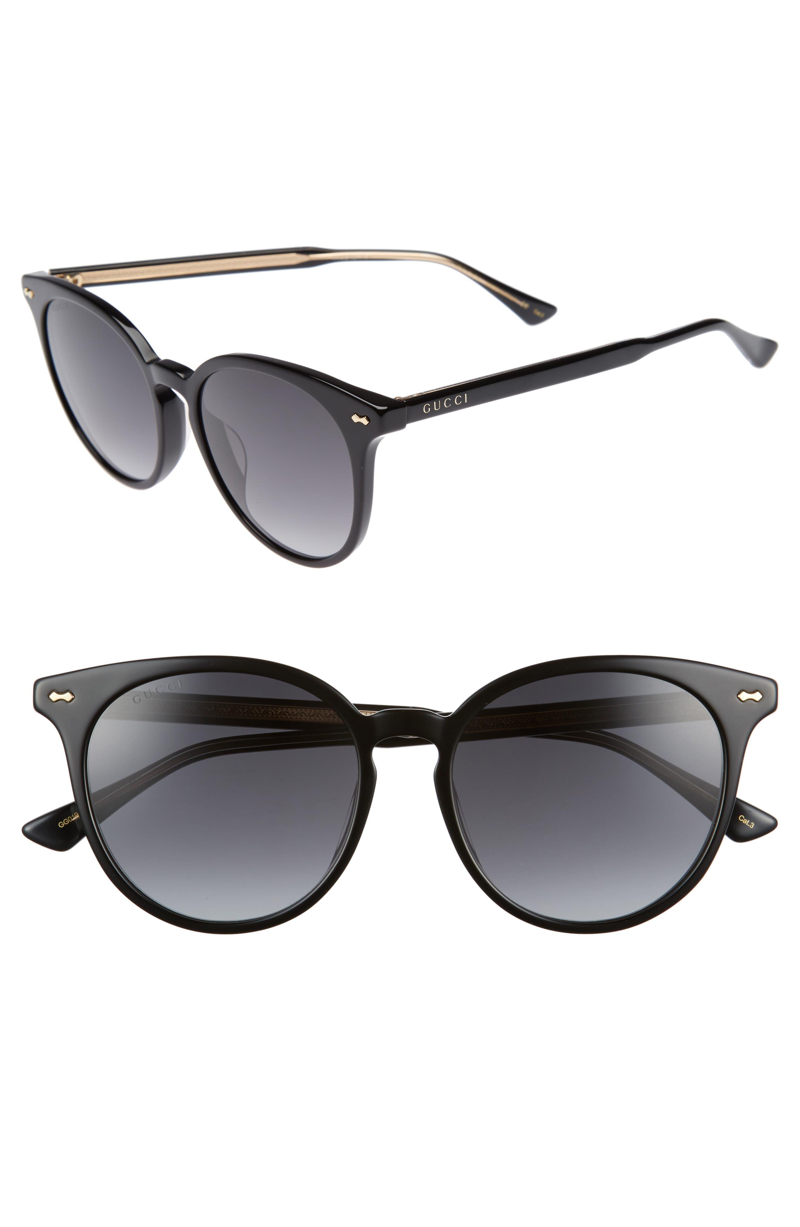 55mm Round Cat Eye Sunglasses,                             Main thumbnail 1, color,                             Black