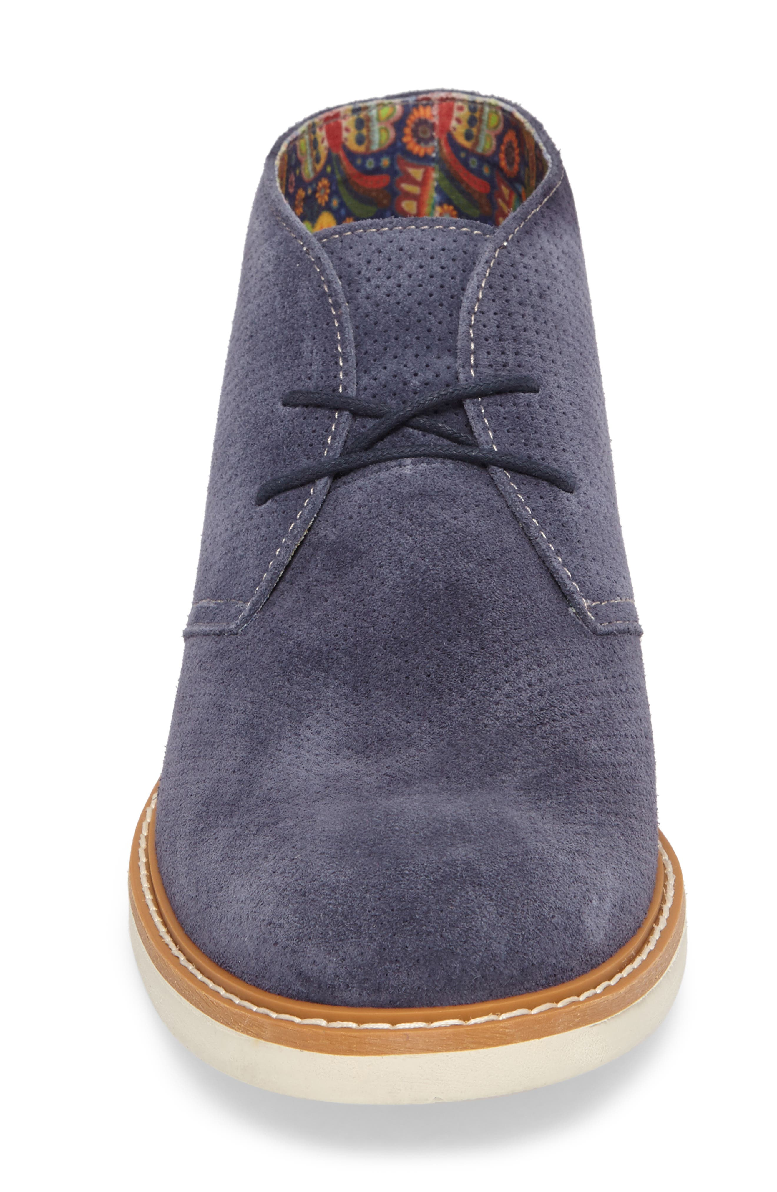 Bayside Perforated Chukka Boot,                             Alternate thumbnail 4, color,                             Blue Suede
