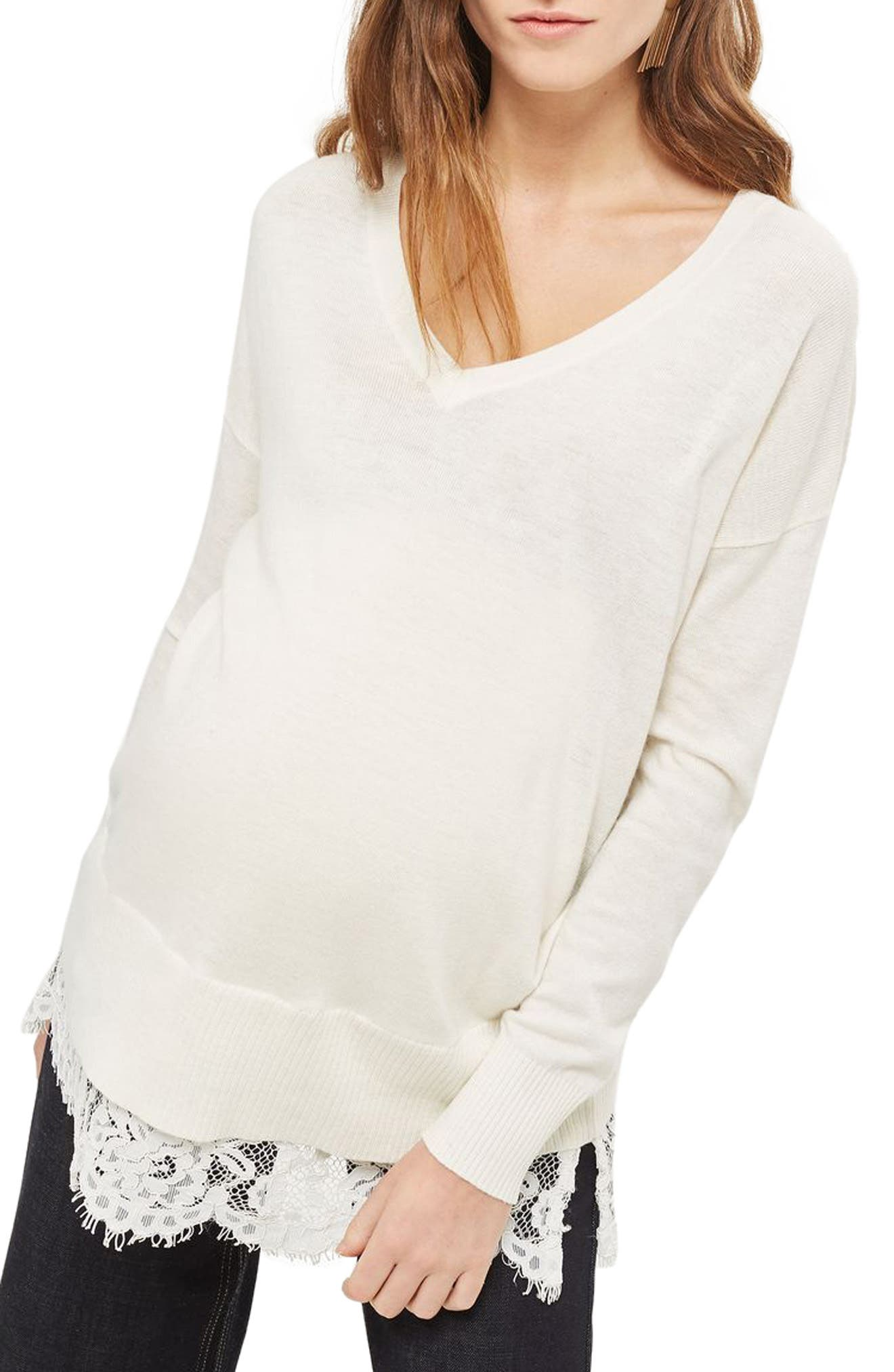 Topshop Lace Hem Maternity Sweater