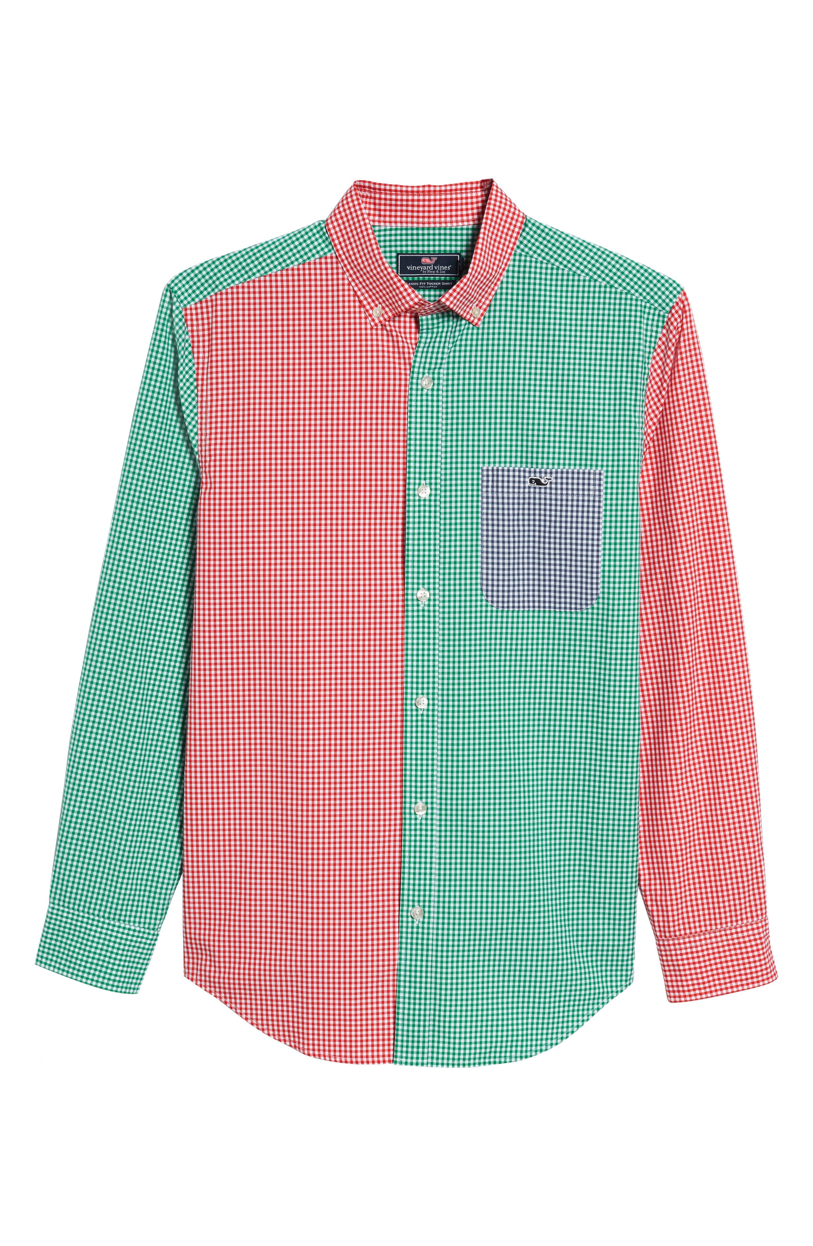 Alternate Image 6  - vineyard vines Holiday Party Classic Fit Colorblock Sport Shirt