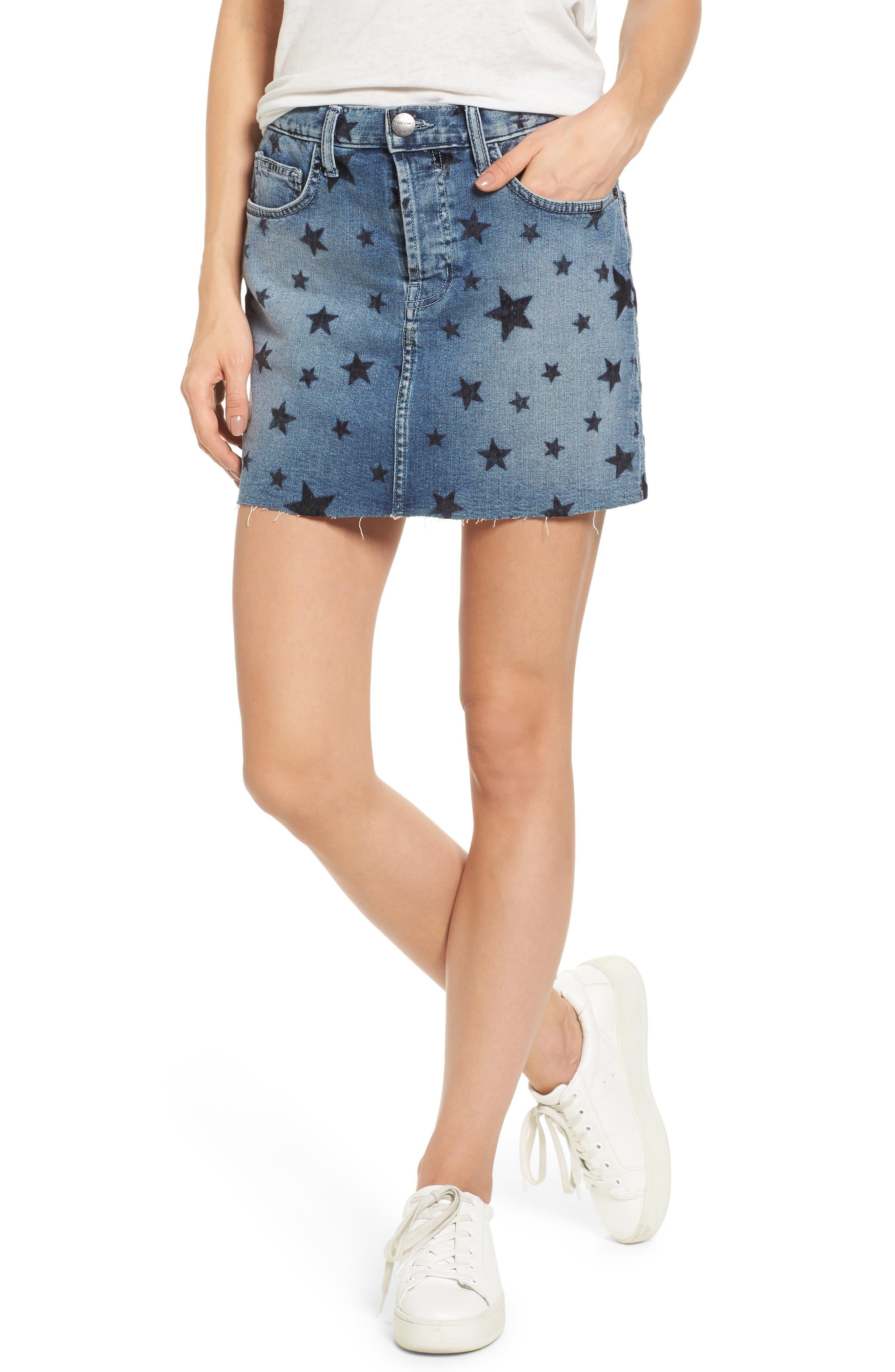The Cut Off Miniskirt,                         Main,                         color, Flocked Star