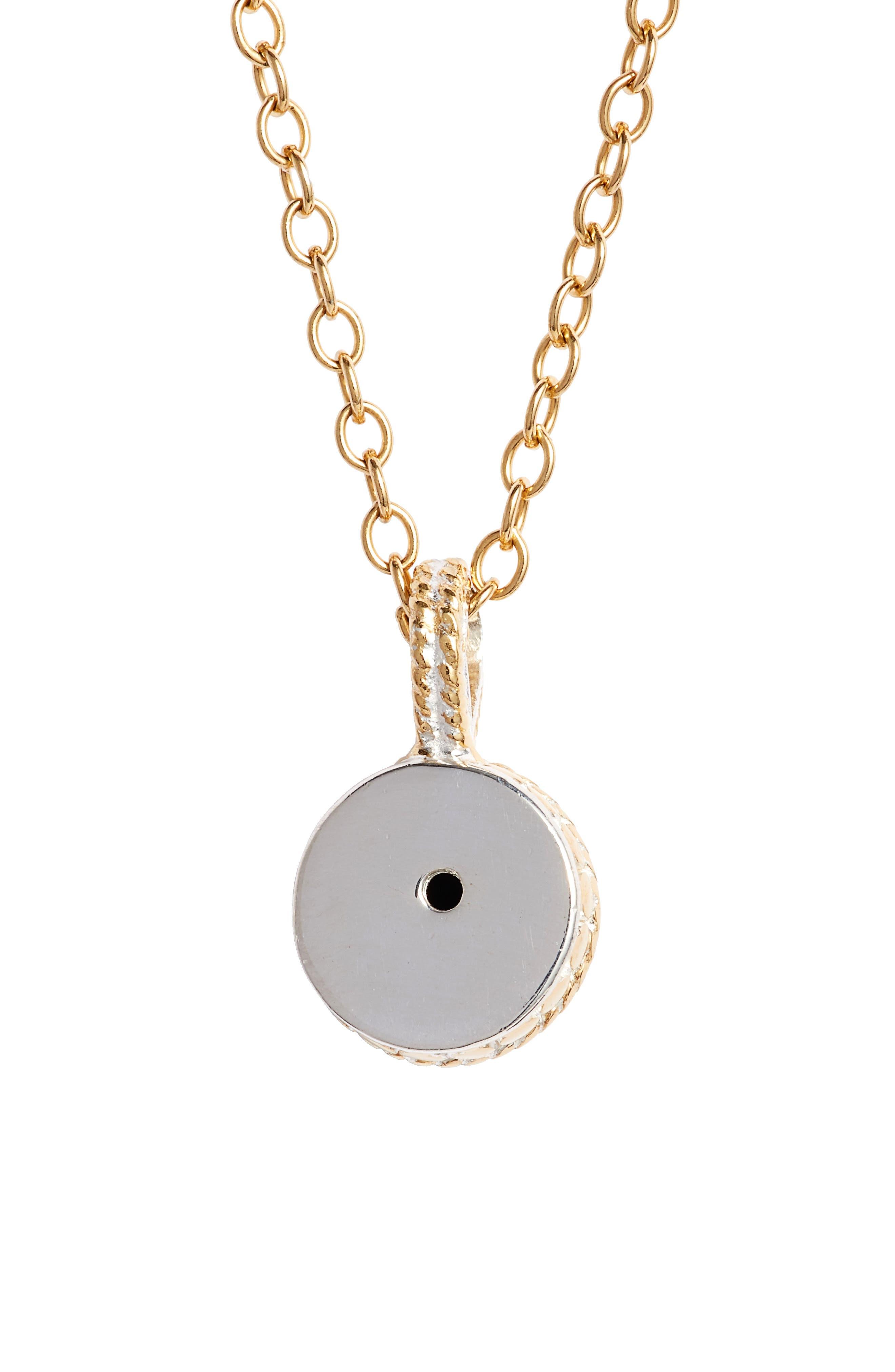 Semiprecious Stone Round Drop Pendant Necklace,                             Alternate thumbnail 4, color,                             Gold/ Black Onyx