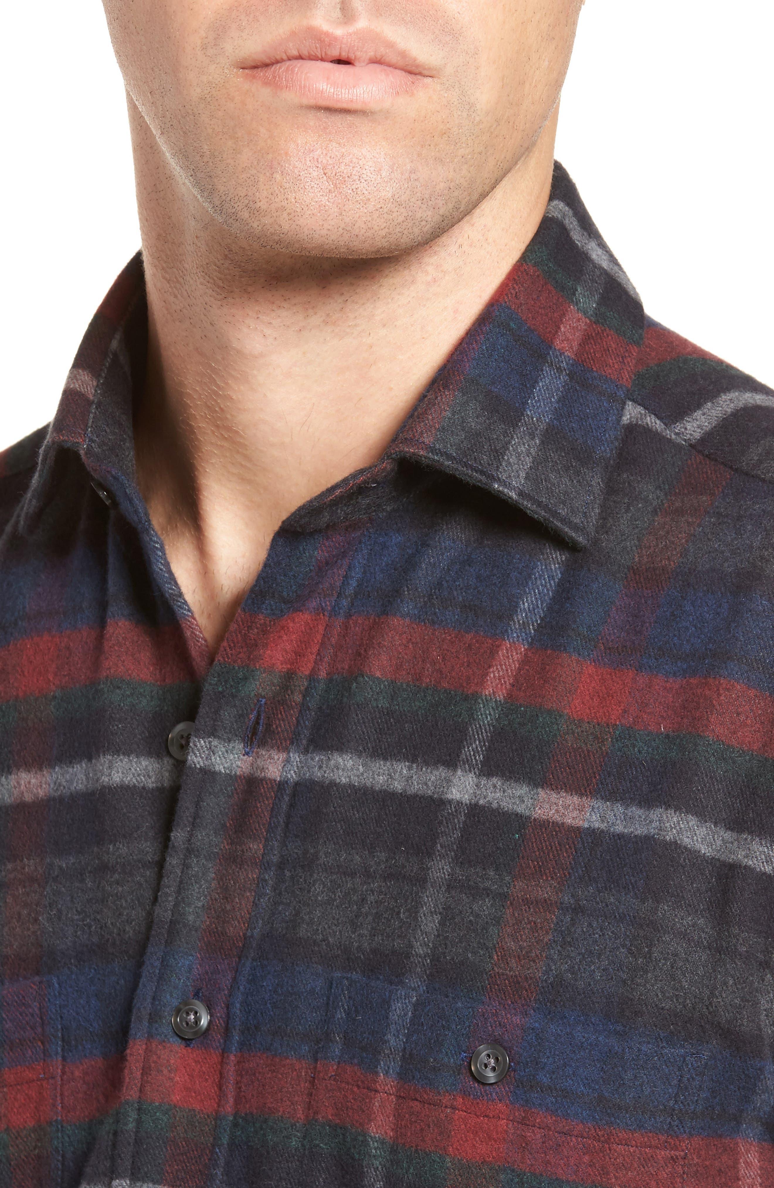 Plaid Flannel Sport Shirt,                             Alternate thumbnail 4, color,                             Charcoal