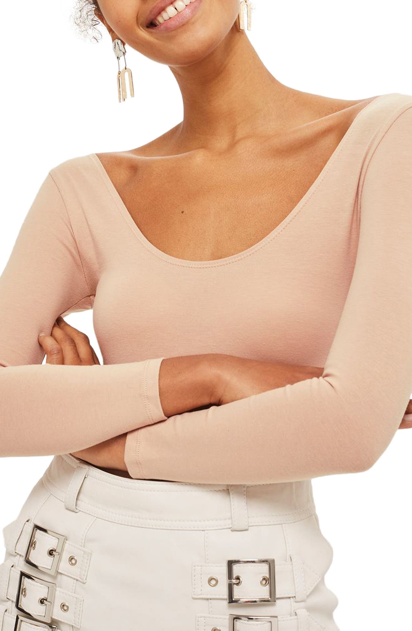 Stretch Cotton Long Sleeve Bodysuit,                         Main,                         color, Nude