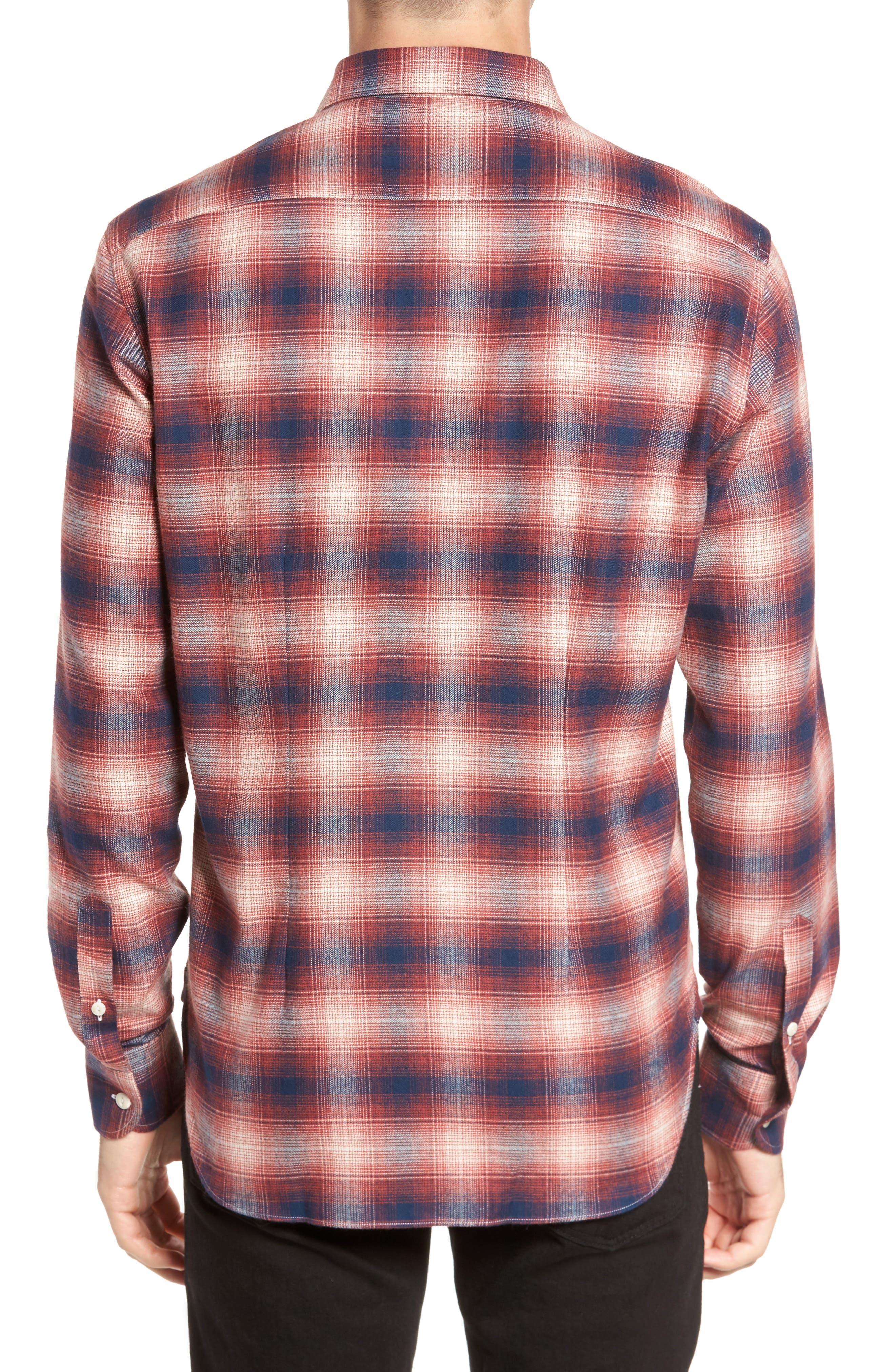 Ombré Plaid Flannel Sport Shirt,                             Alternate thumbnail 2, color,                             Red