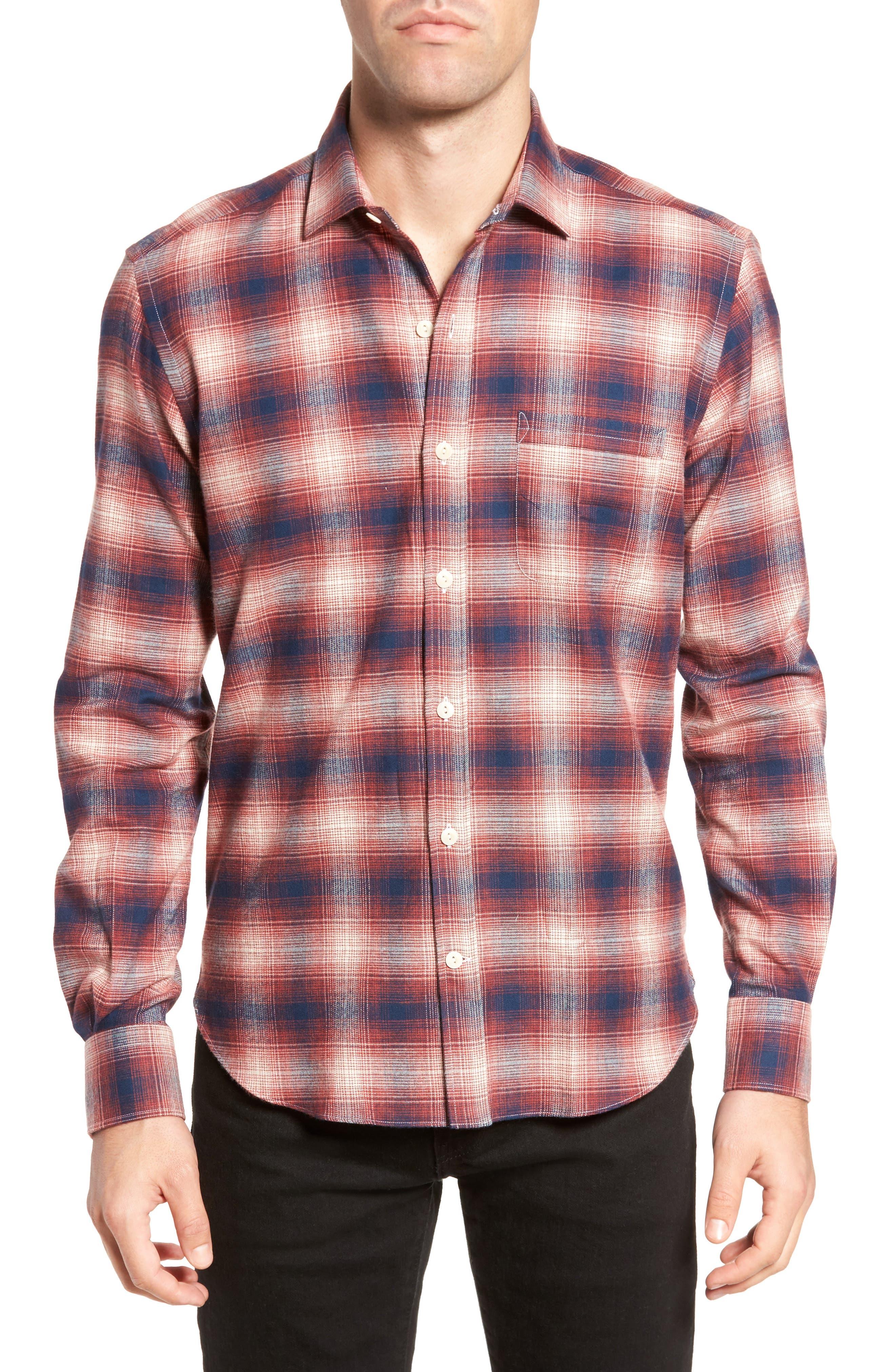 Ombré Plaid Flannel Sport Shirt,                             Main thumbnail 1, color,                             Red