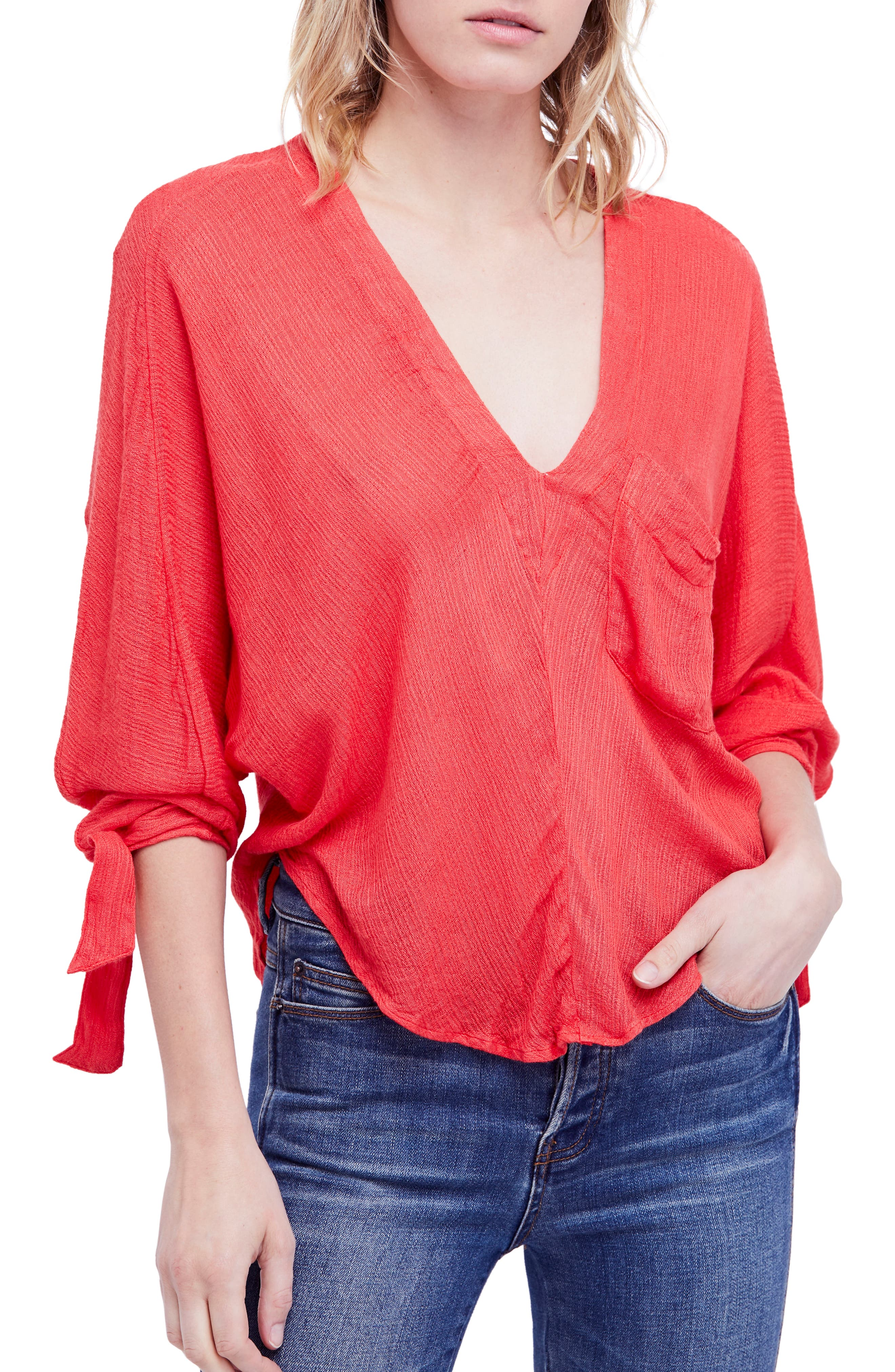 Morning Dolman Sleeve Blouse,                             Main thumbnail 1, color,                             Red