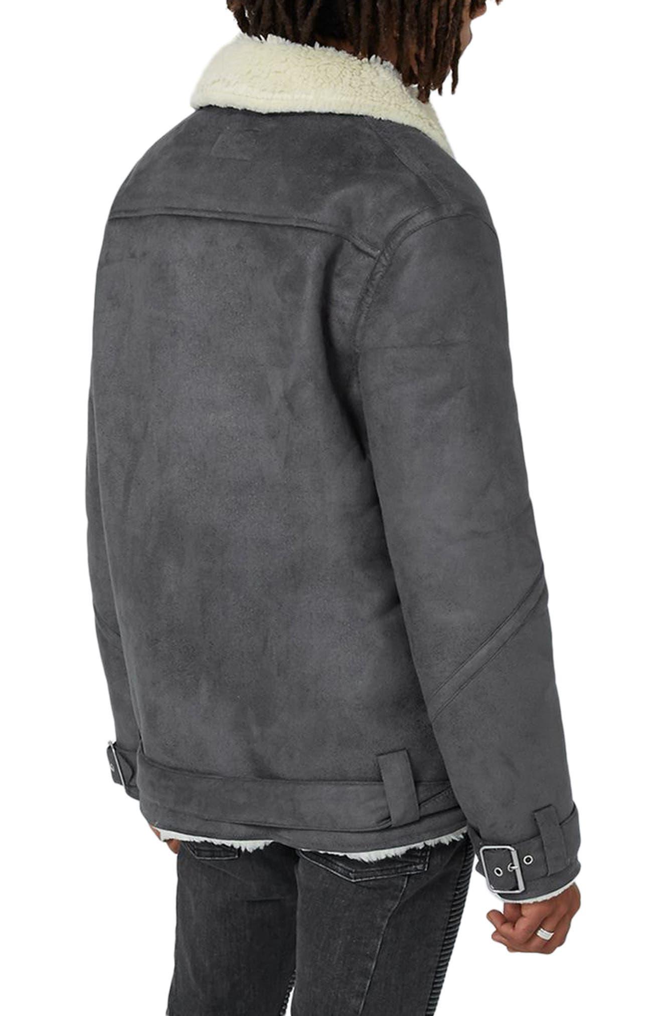 Borg Collar Faux Shearling Jacket,                             Alternate thumbnail 2, color,                             Grey