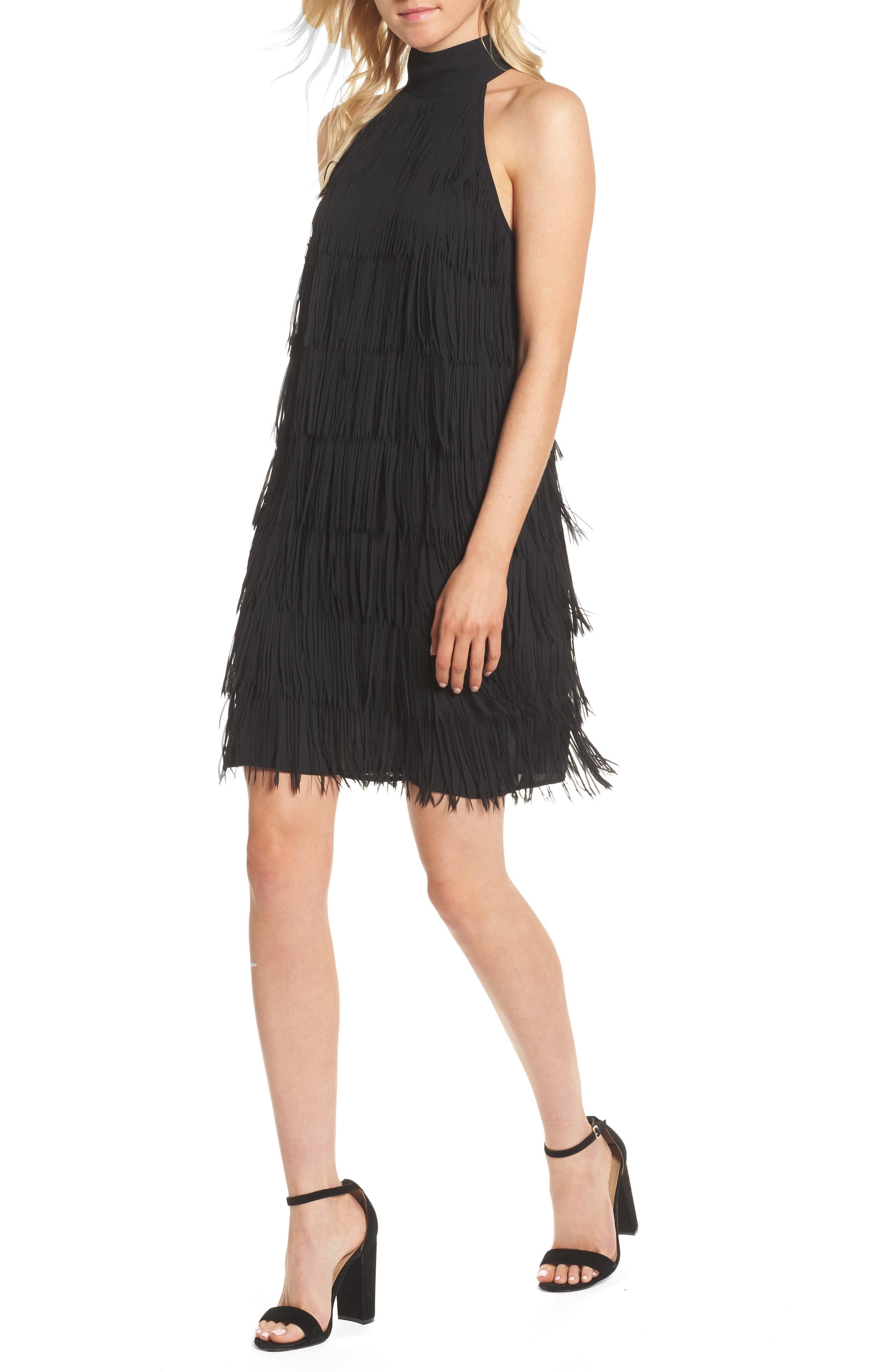 Trouvé Fringe Halter Shift Dress