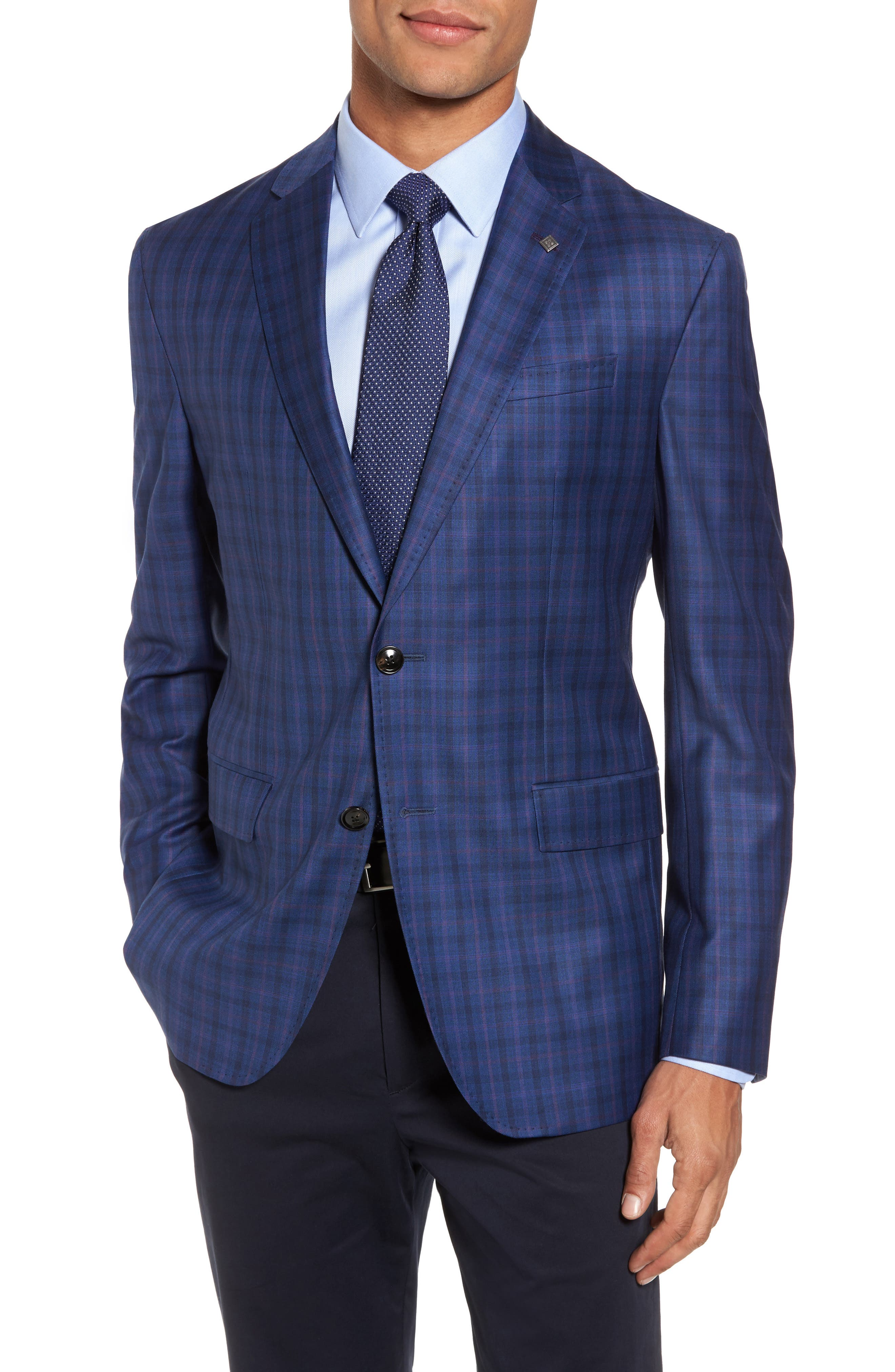 Konan Trim Fit Plaid Wool Sport Coat,                             Main thumbnail 1, color,                             Blue W/Light Berry Windowpane
