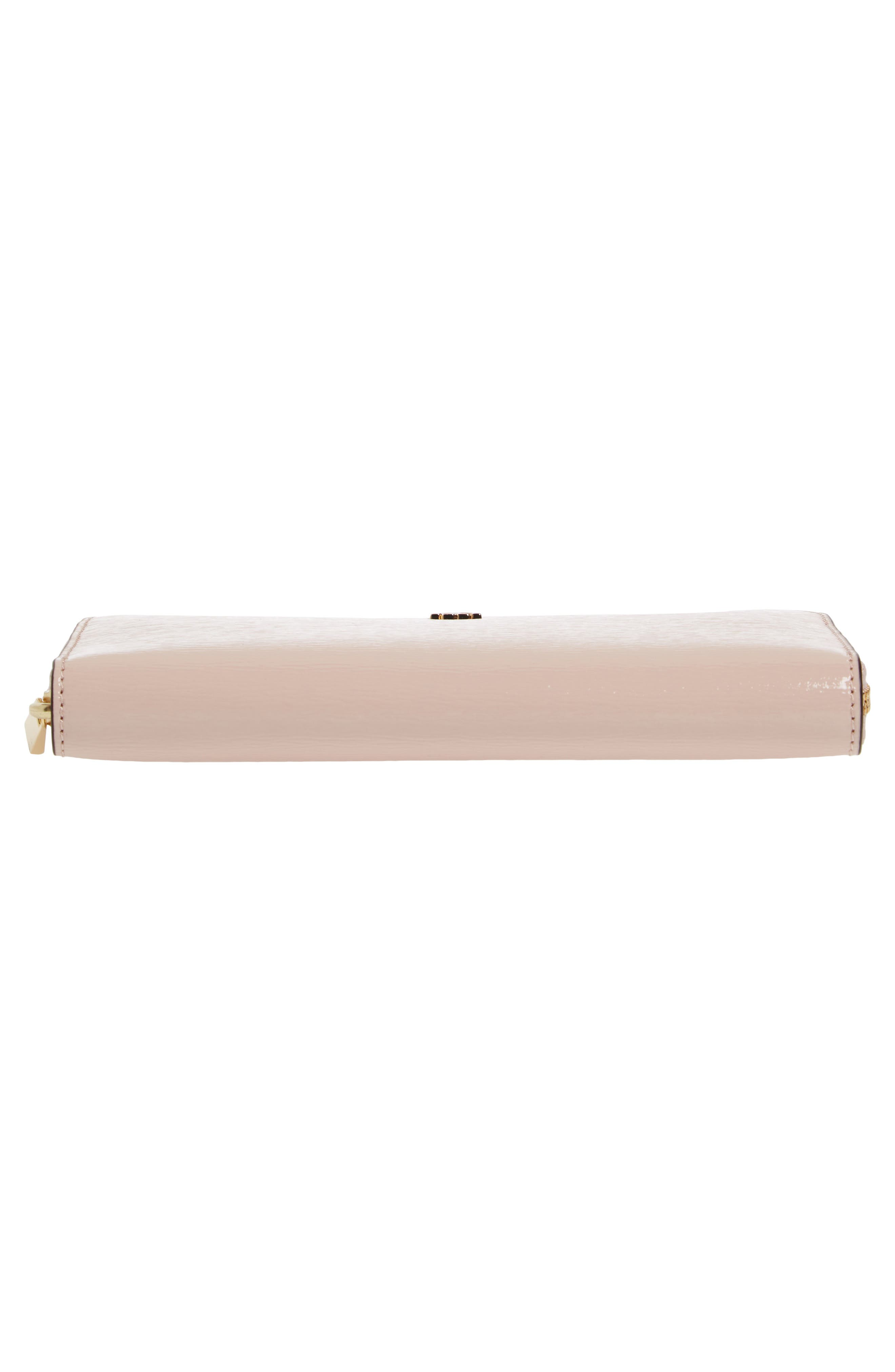 Robinson Patent Leather Continental Wallet,                             Alternate thumbnail 5, color,                             Shell Pink