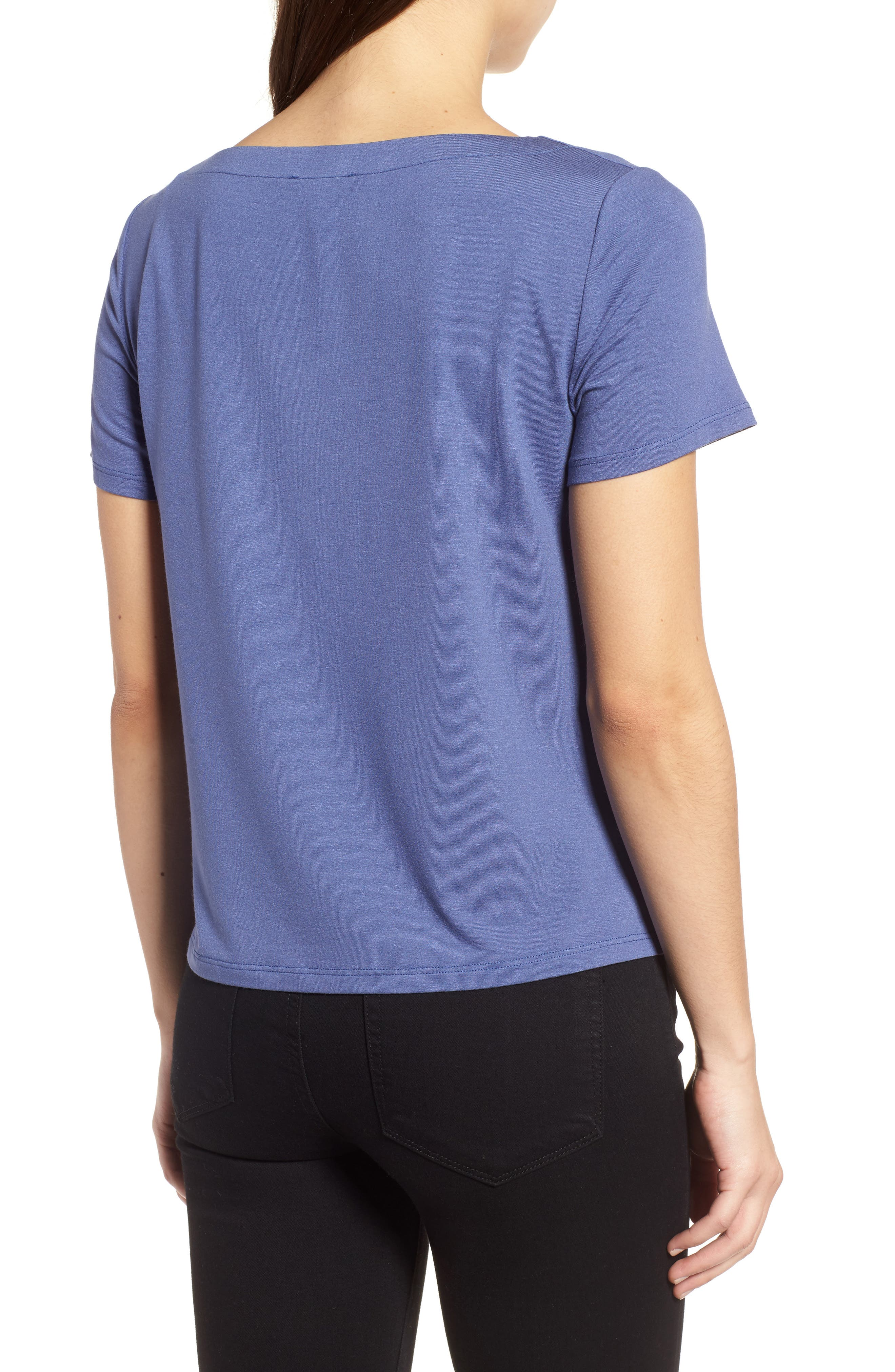 Square Neck Jersey Top,                             Alternate thumbnail 2, color,                             Blue Angel
