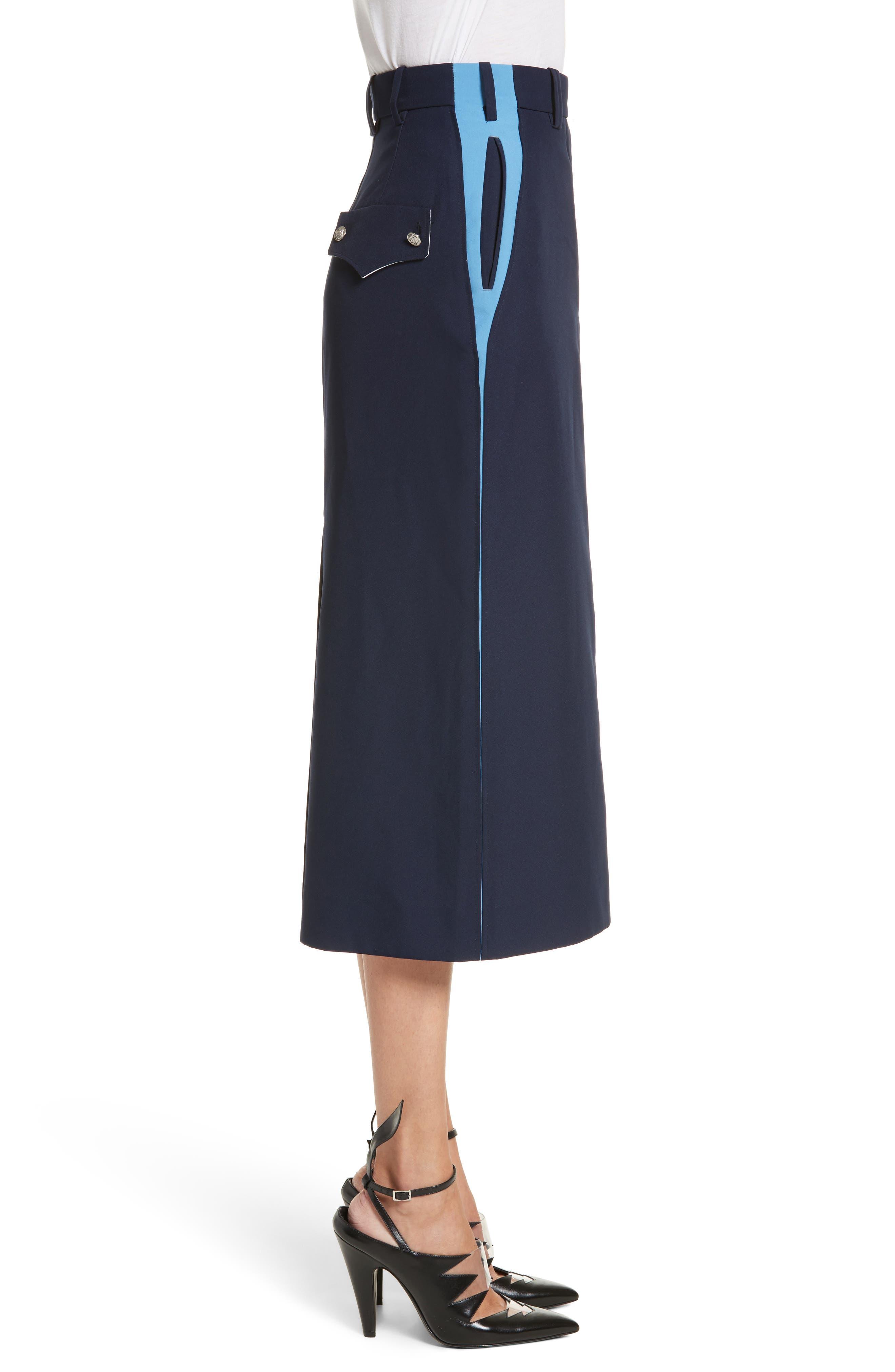 Uniform Midi Skirt,                             Alternate thumbnail 3, color,                             Marine