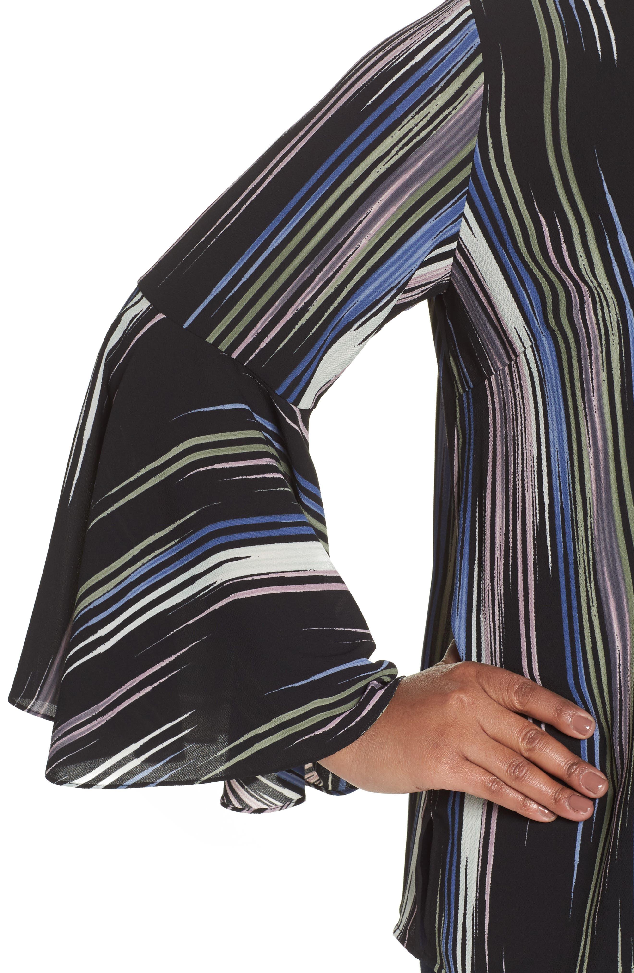 Bell Sleeve Colorful Peak Blouse,                             Alternate thumbnail 4, color,                             Rich Black