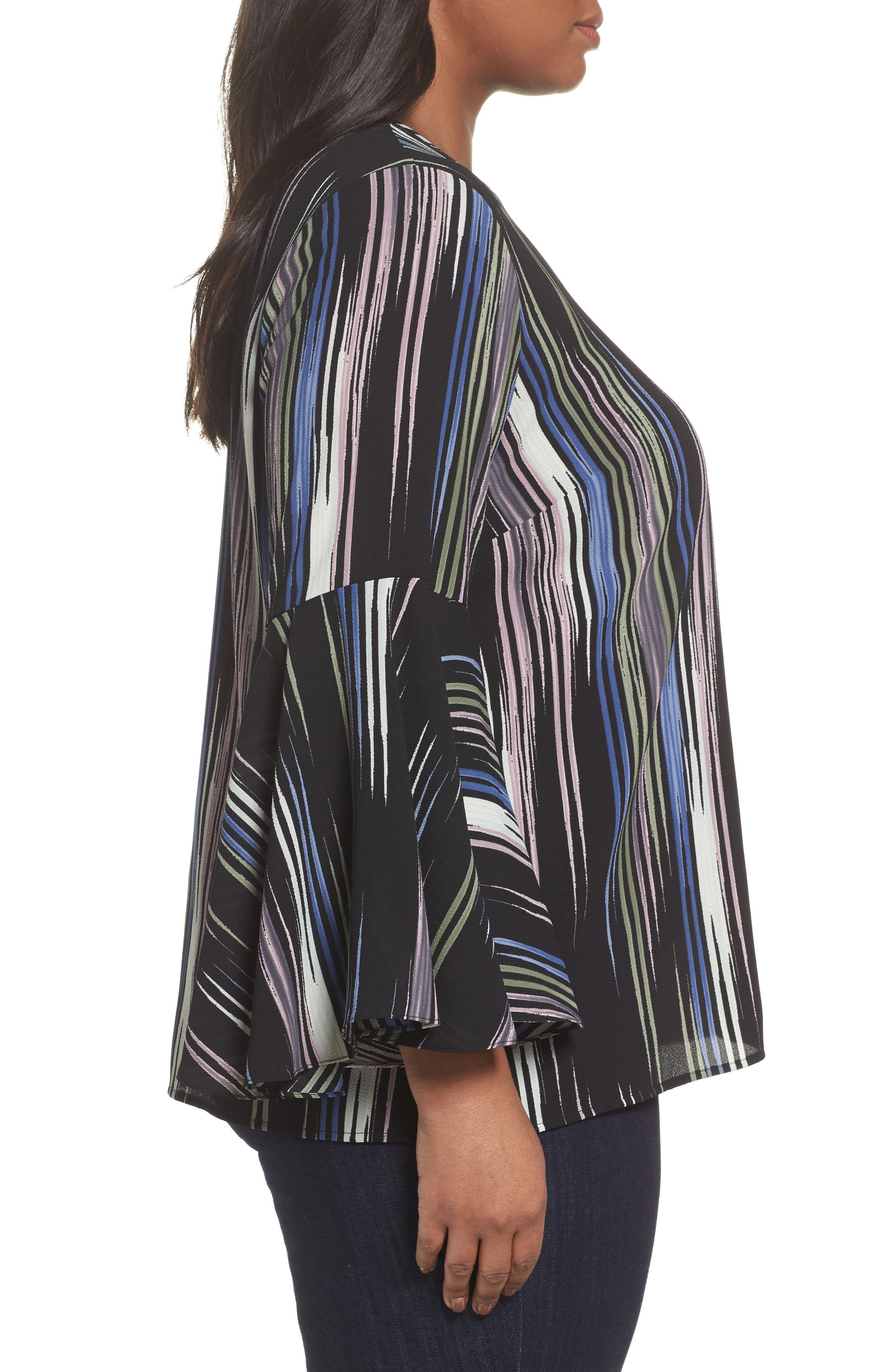 Alternate Image 3  - Vince Camuto Bell Sleeve Colorful Peak Blouse (Plus Size)