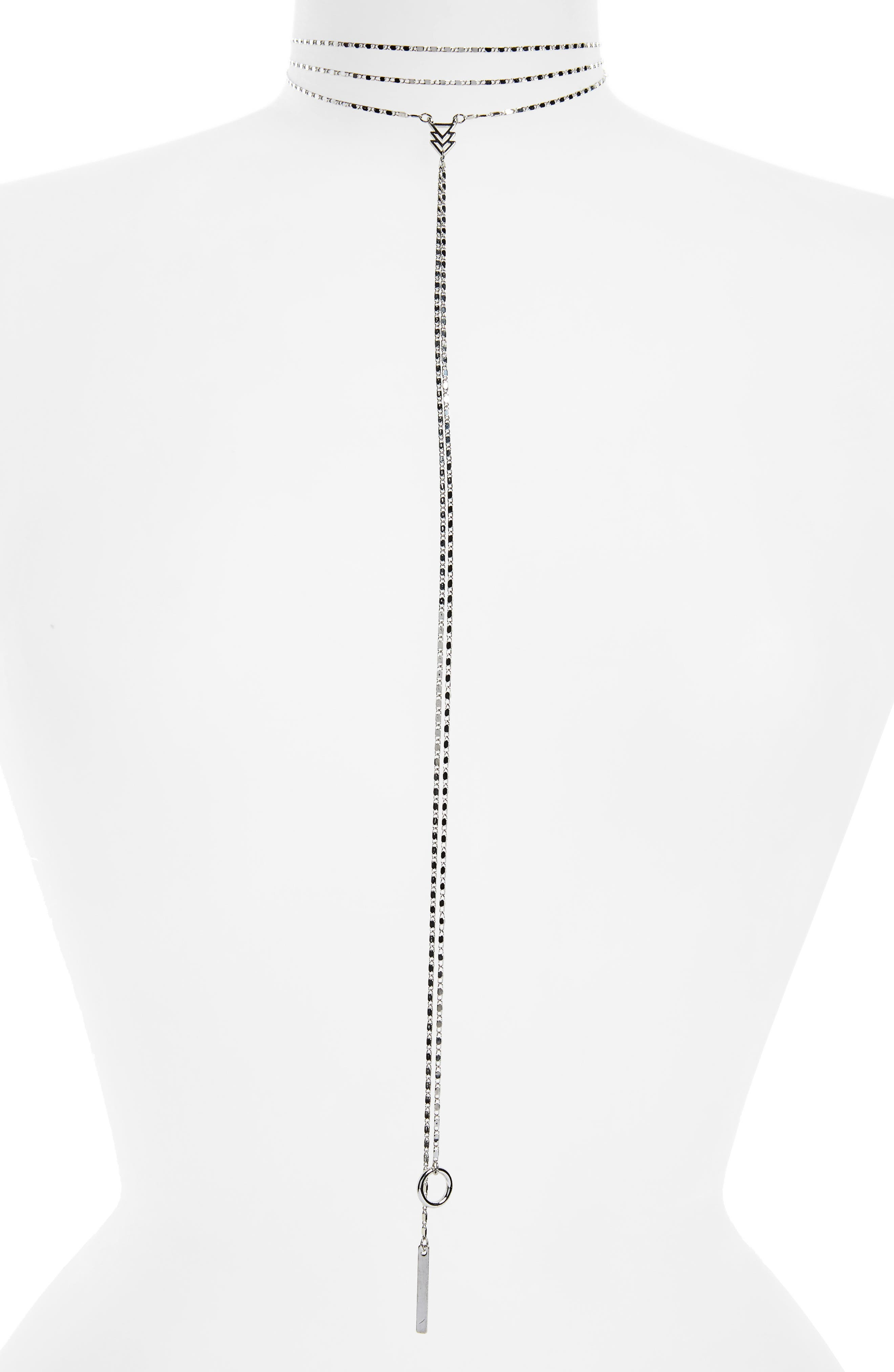 Geo Front Choker,                         Main,                         color, Silver