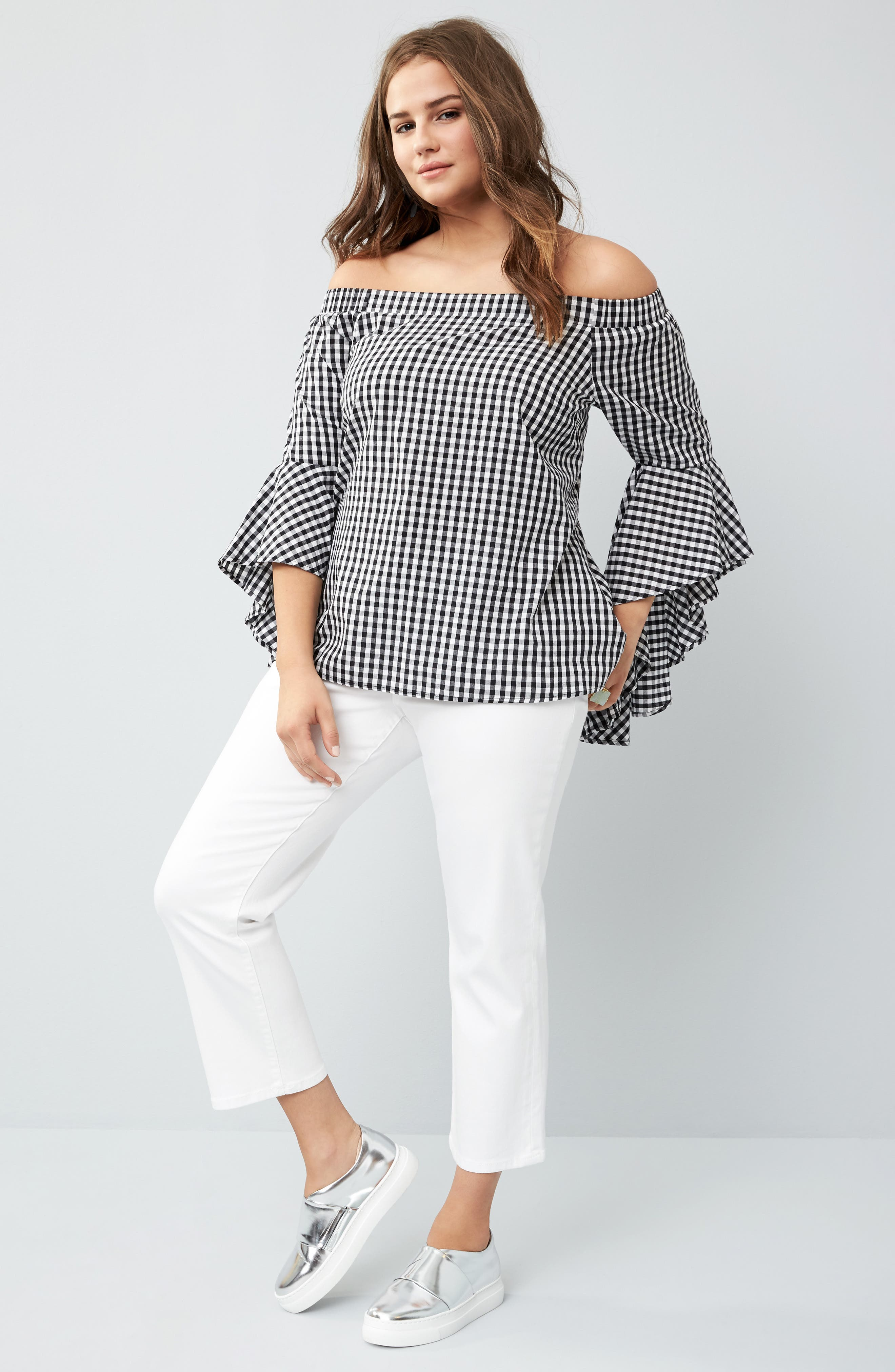 Alternate Image 2  - City Chic Bell Sleeve Off the Shoulder Shirt (Plus Size)