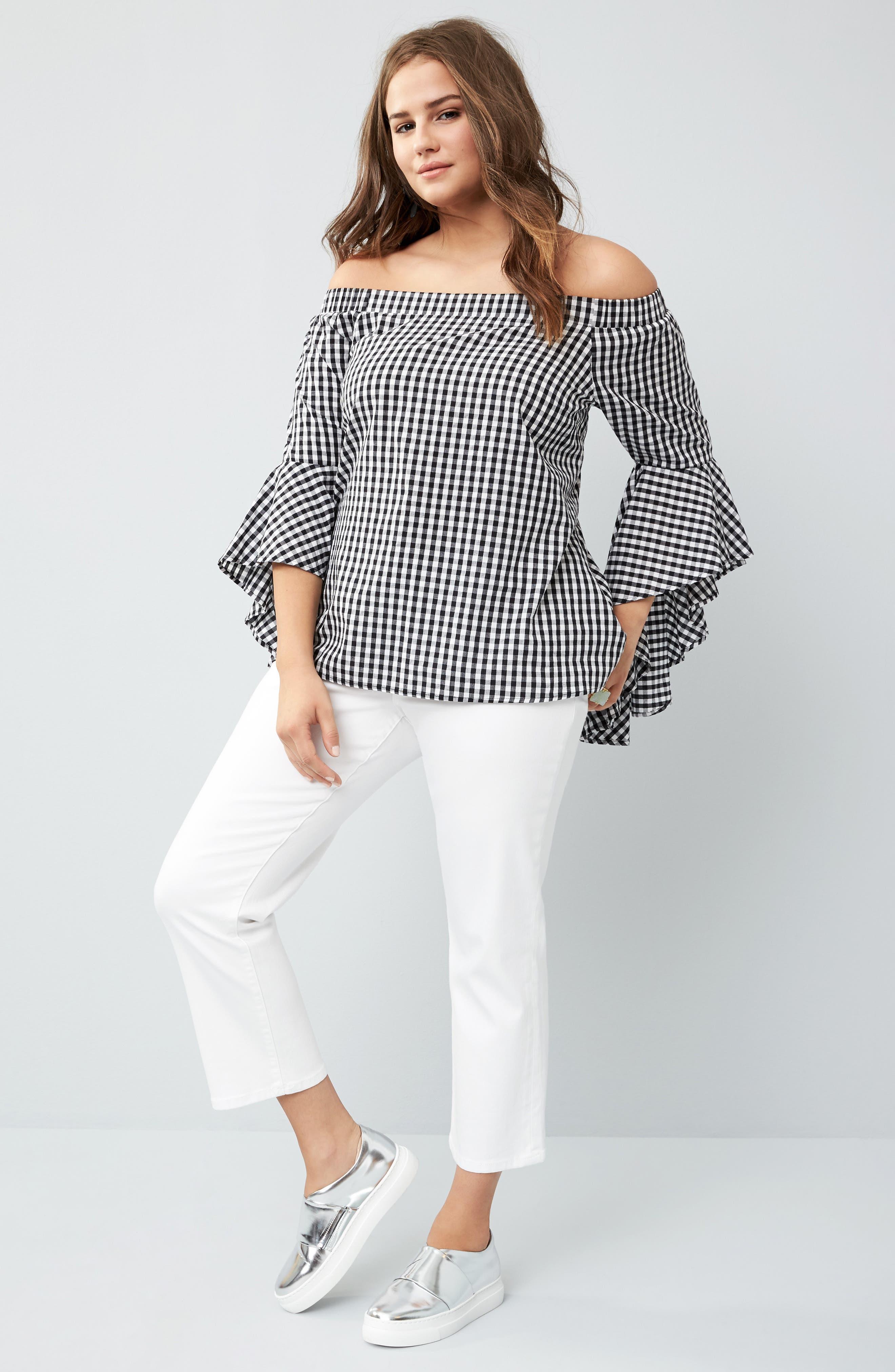 Bell Sleeve Off the Shoulder Shirt,                             Alternate thumbnail 2, color,                             Black / White