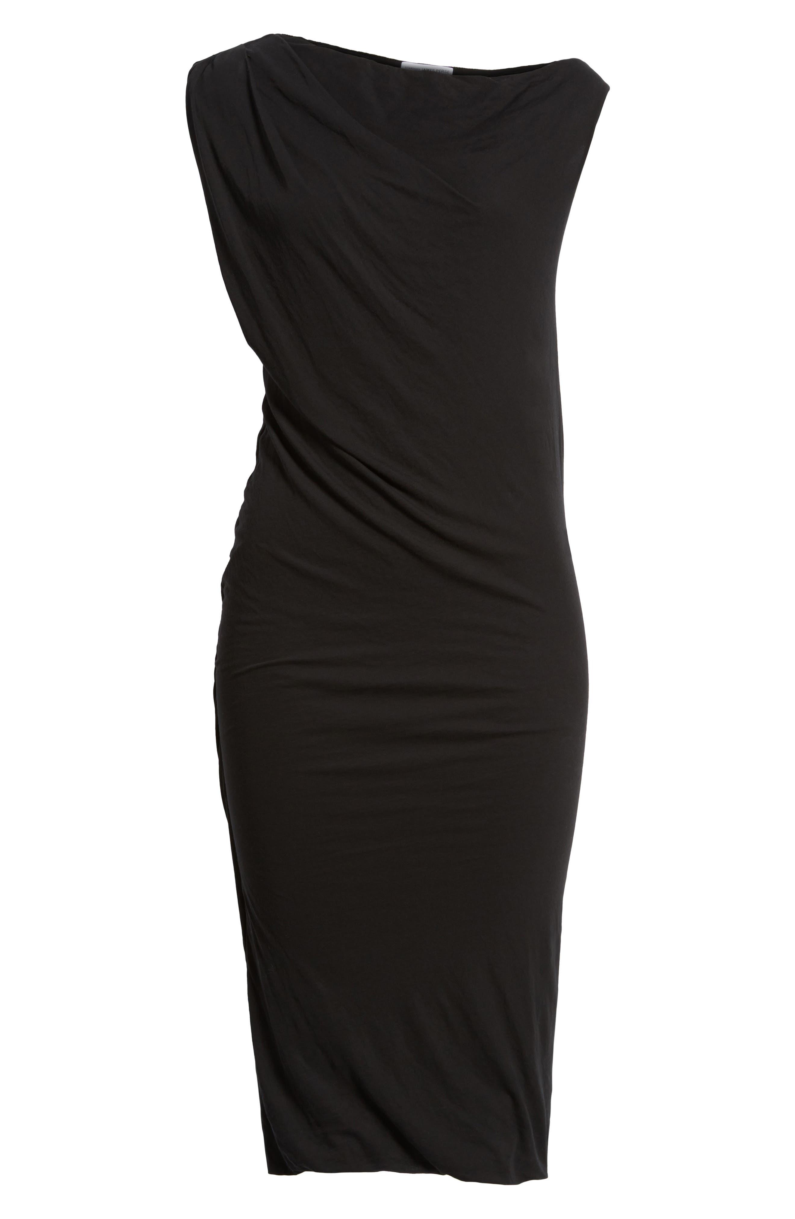 Draped One-Shoulder Midi Dress,                             Main thumbnail 1, color,                             Black
