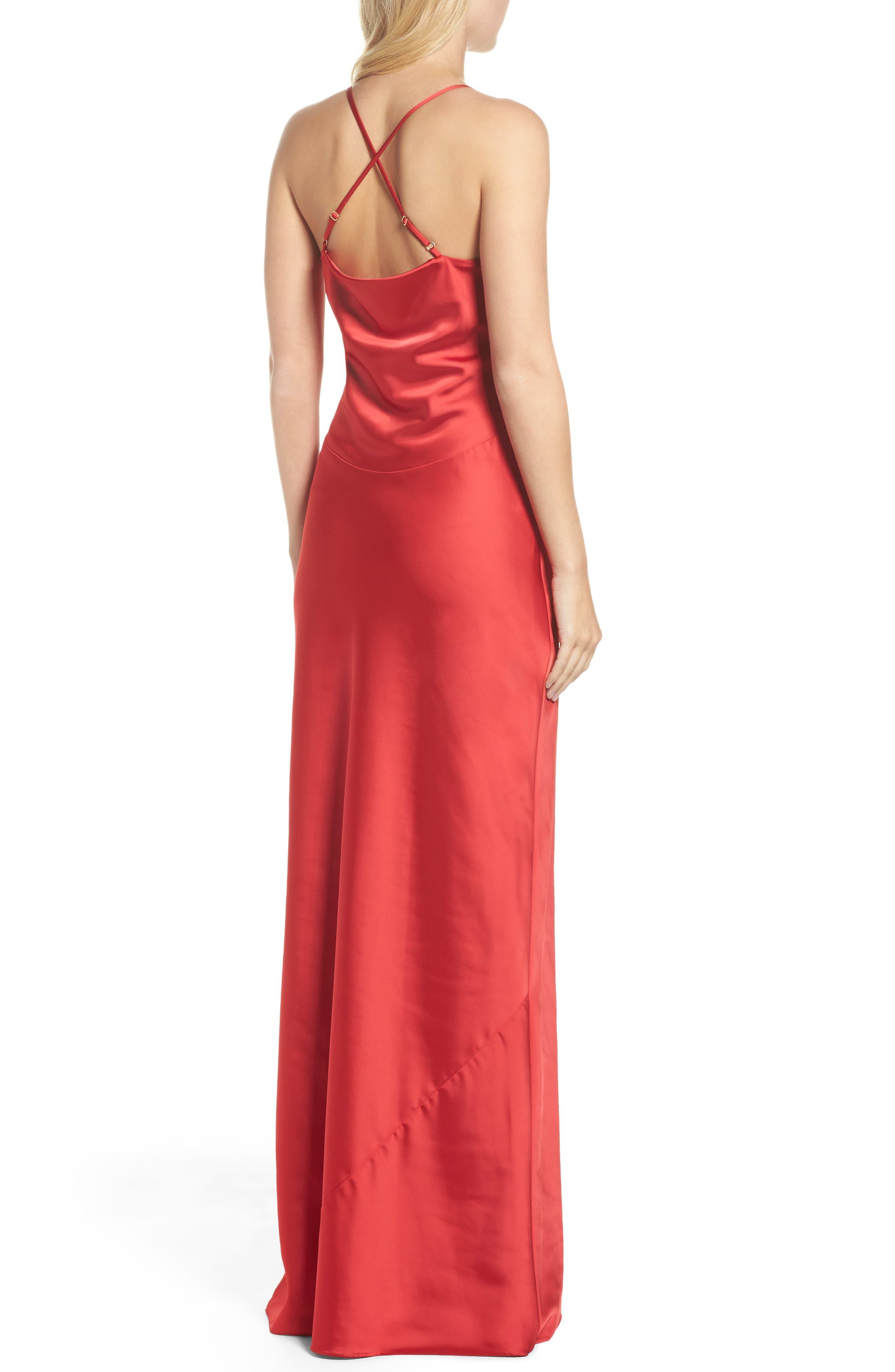 Juliet Satin Gown,                             Alternate thumbnail 2, color,                             Crimson