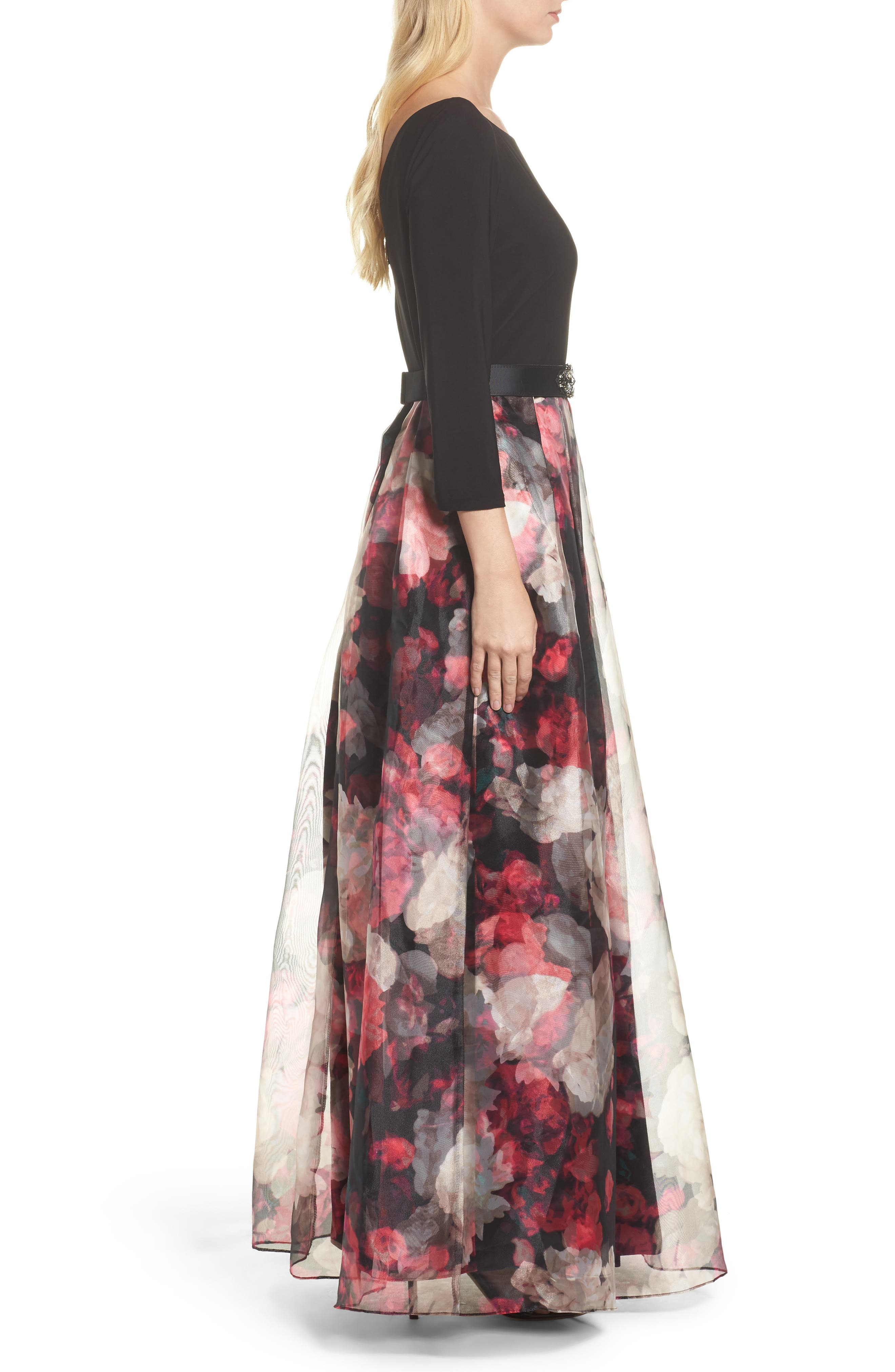Embellished Knit & Organza Ballgown,                             Alternate thumbnail 3, color,                             Black