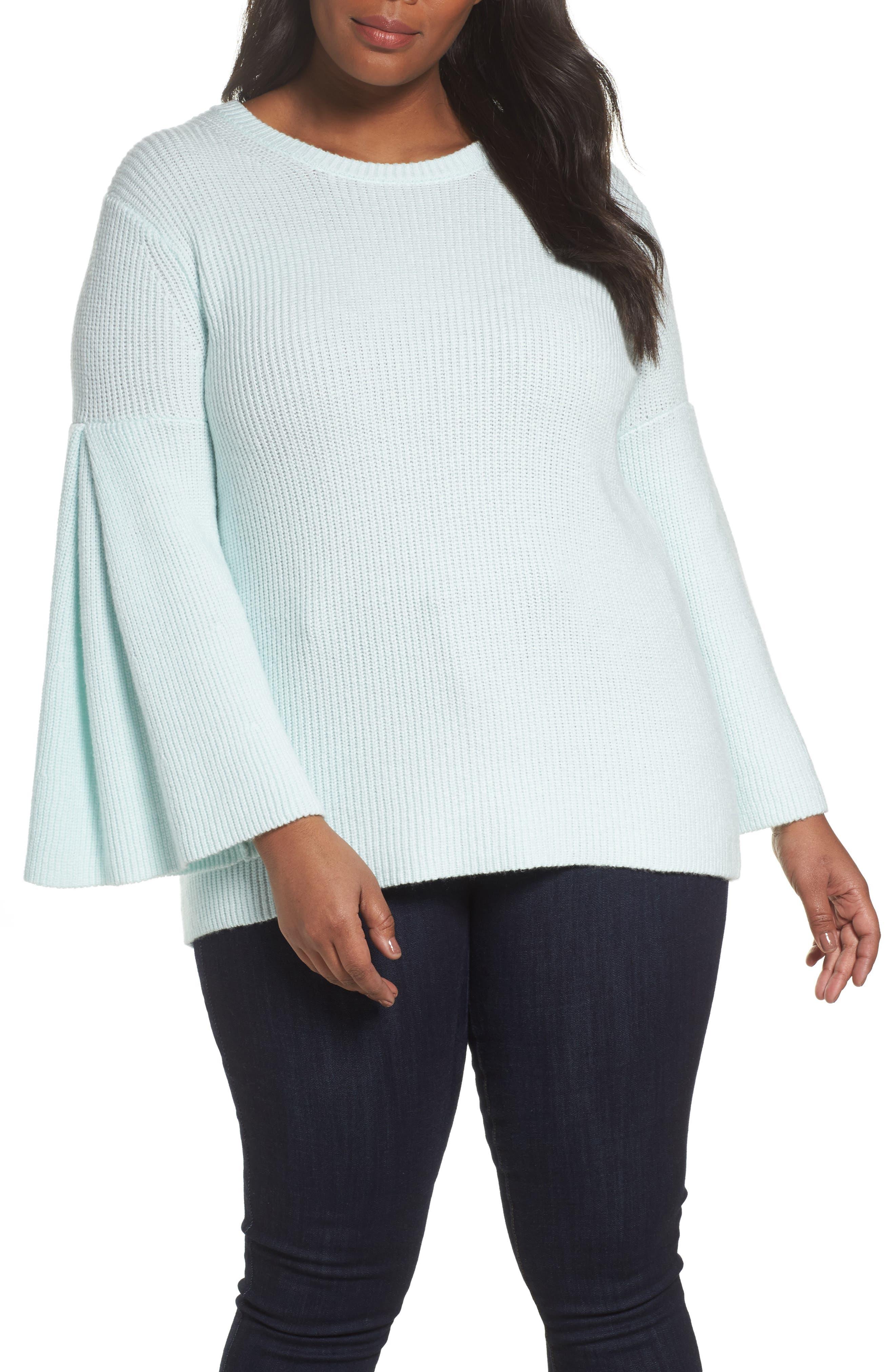Bell Sleeve Ribbed Sweater,                         Main,                         color, Light Aqua Mist