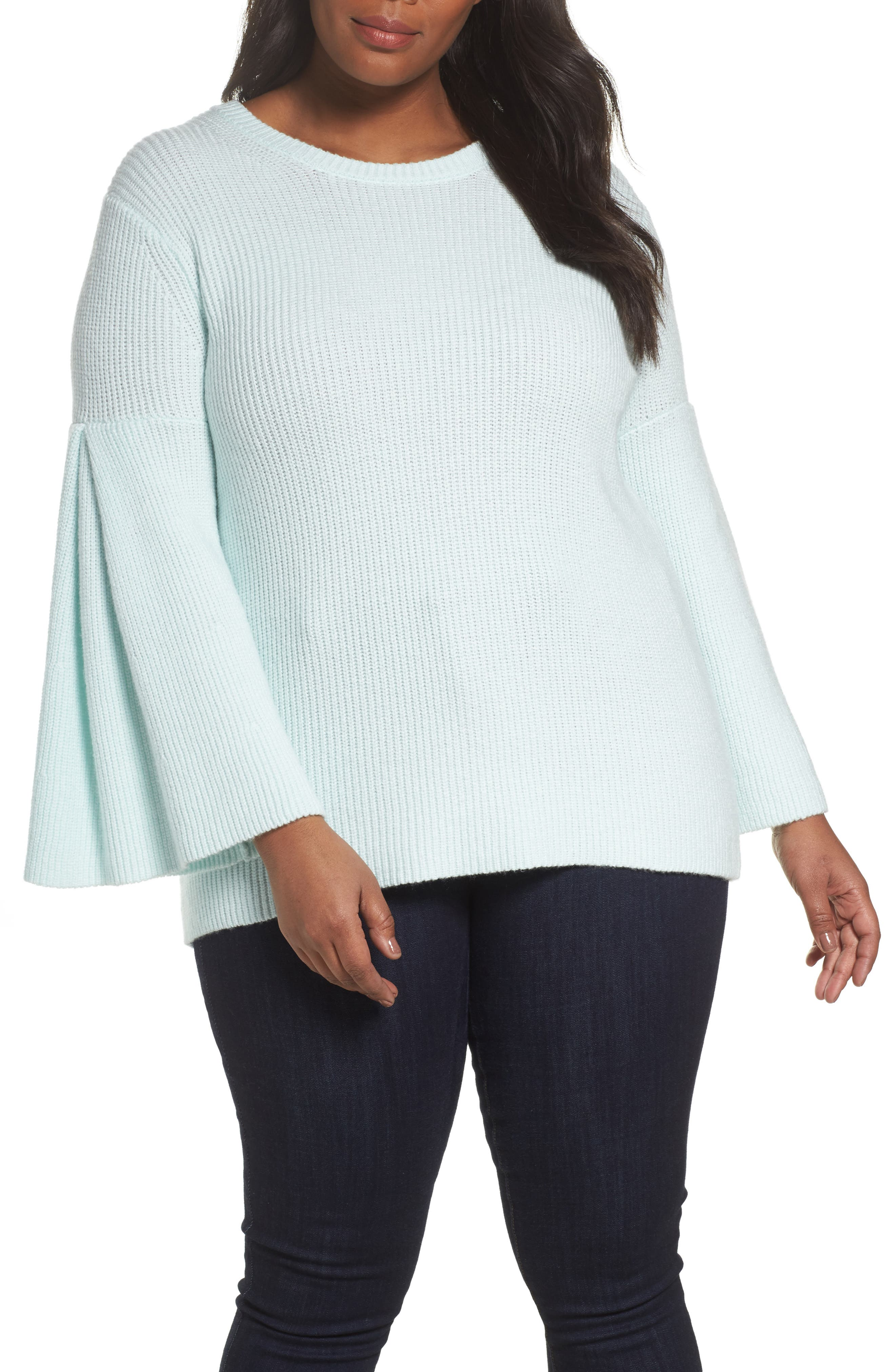 Vince Camuto Bell Sleeve Ribbed Sweater (Plus Size)