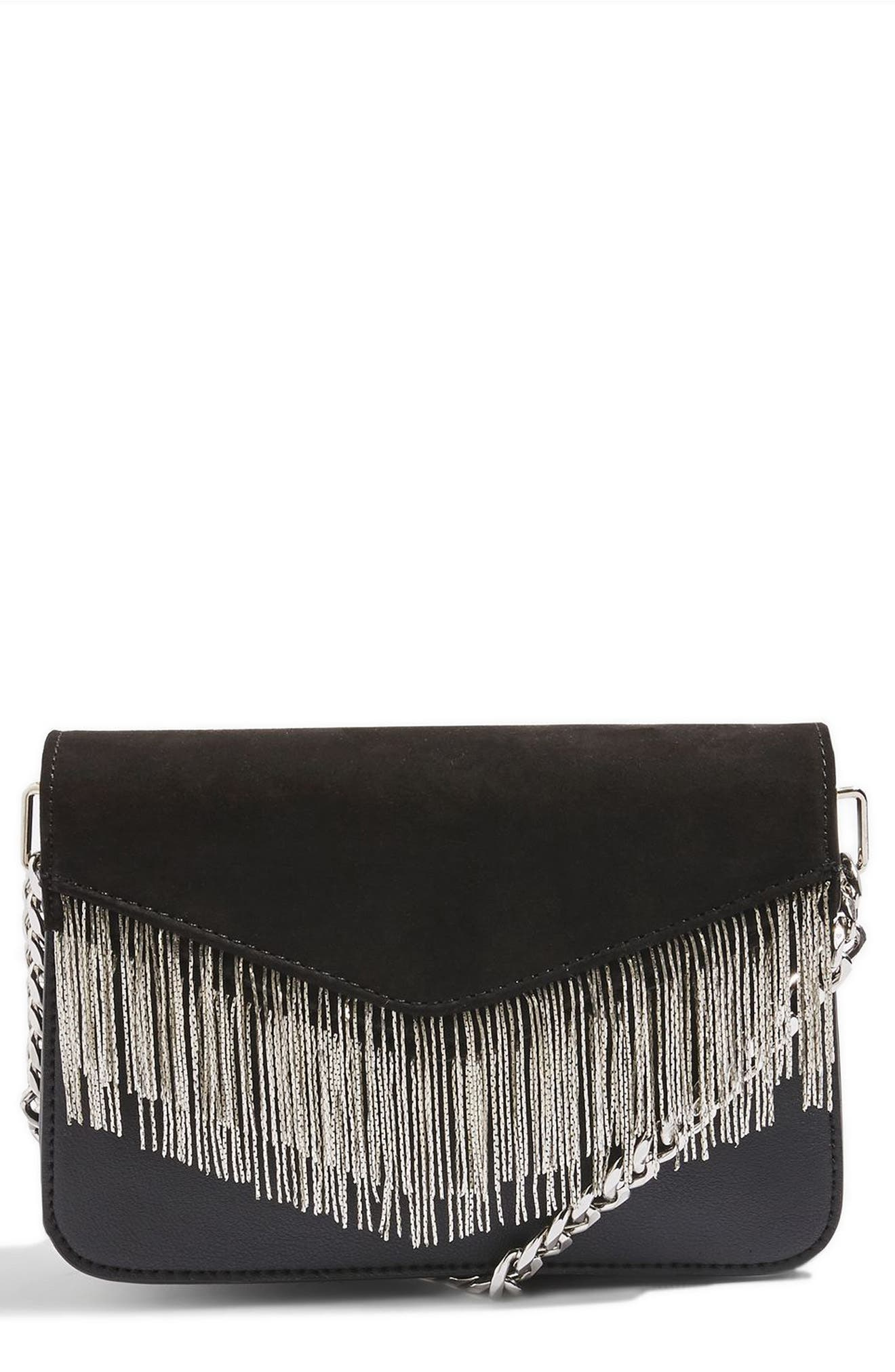 Main Image - Topshop Remy Chain Flap Faux Leather Crossbody Bag