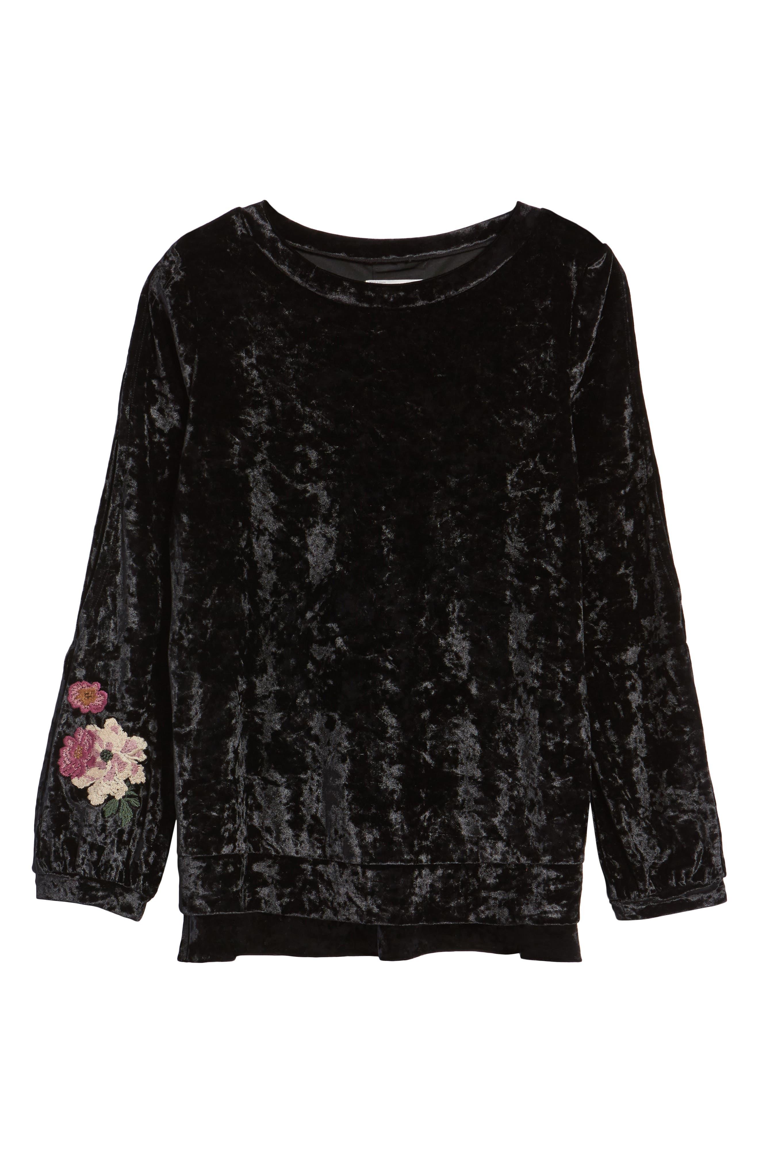 Split Sleeve Embroidered Top,                             Alternate thumbnail 6, color,                             Black