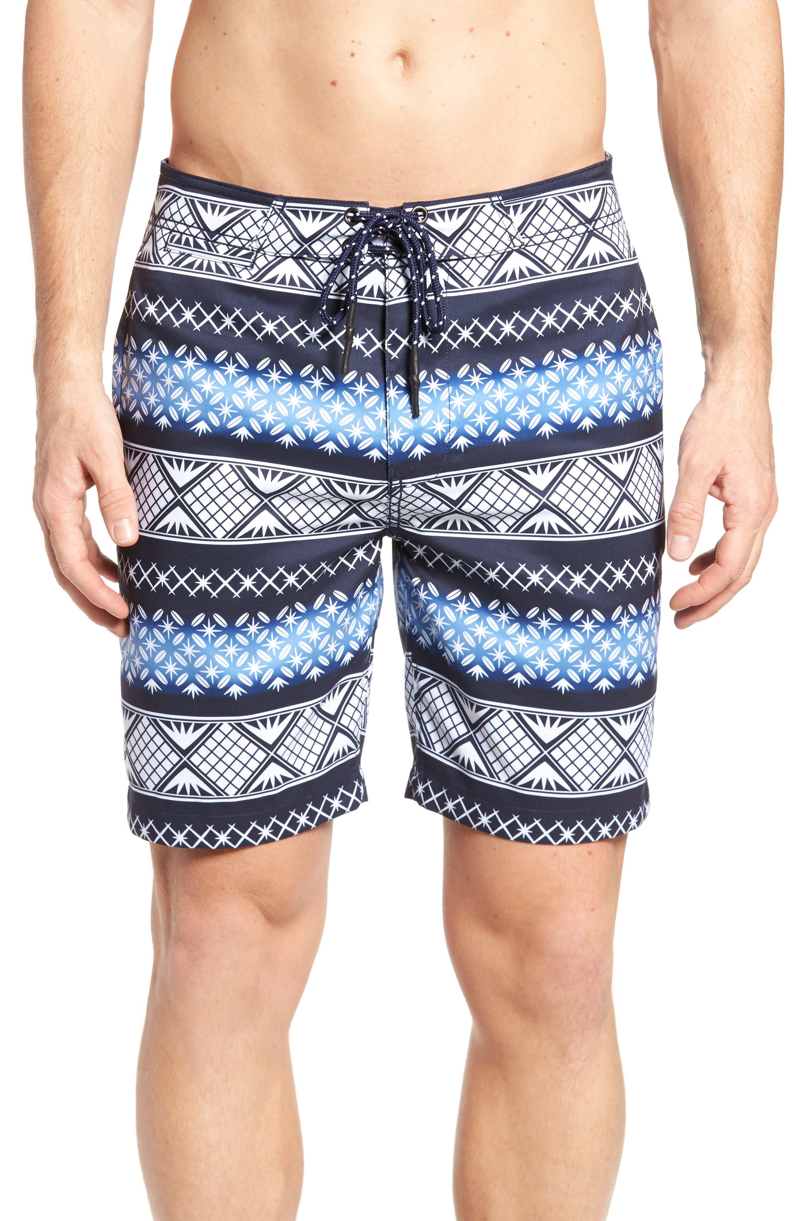 Geo Print Board Shorts,                         Main,                         color, Navy Blazer
