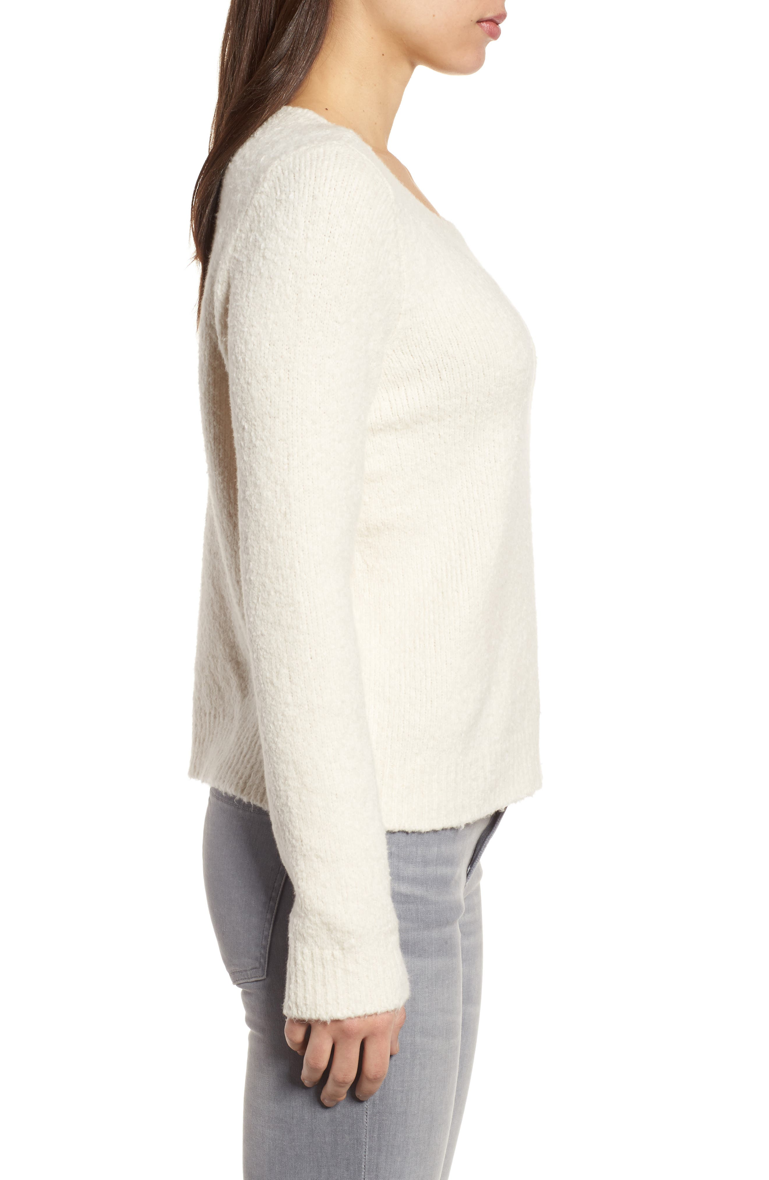 Organic Cotton Blend Sweater,                             Alternate thumbnail 3, color,                             Soft White