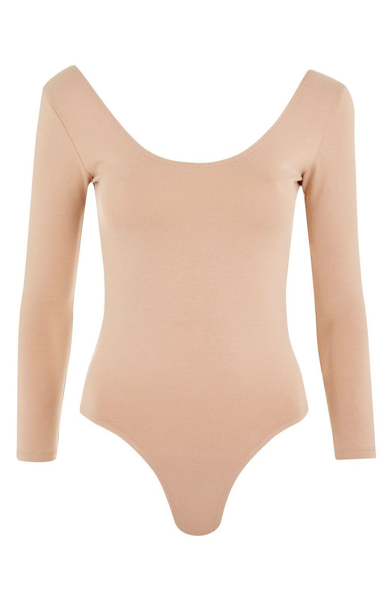 Stretch Cotton Long Sleeve Bodysuit,                             Alternate thumbnail 5, color,                             Nude