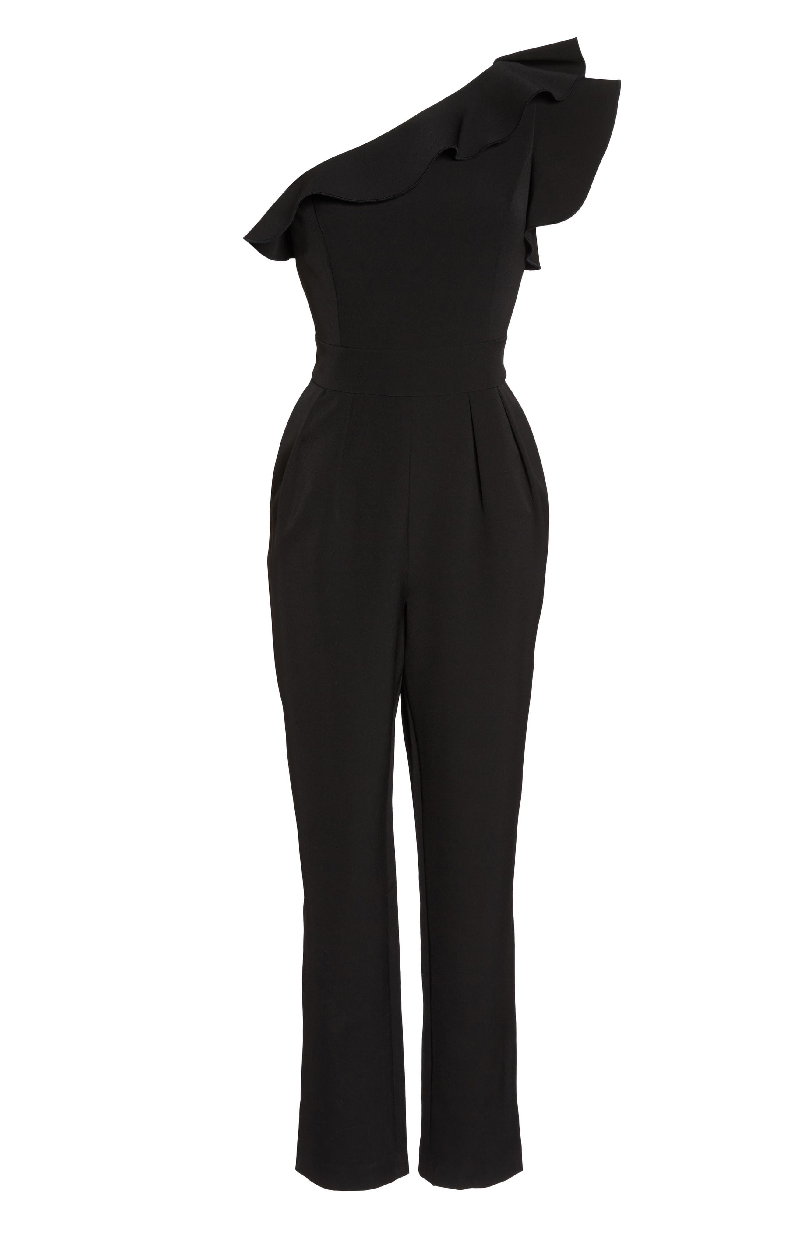 One-Shoulder Ruffle Jumpsuit,                             Alternate thumbnail 6, color,                             Black