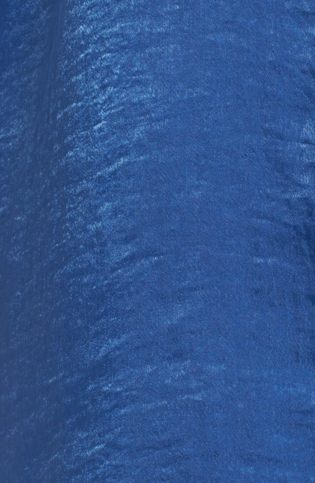 Bell Sleeve Rumpled Satin Blouse,                             Alternate thumbnail 5, color,                             322-Divine Blue