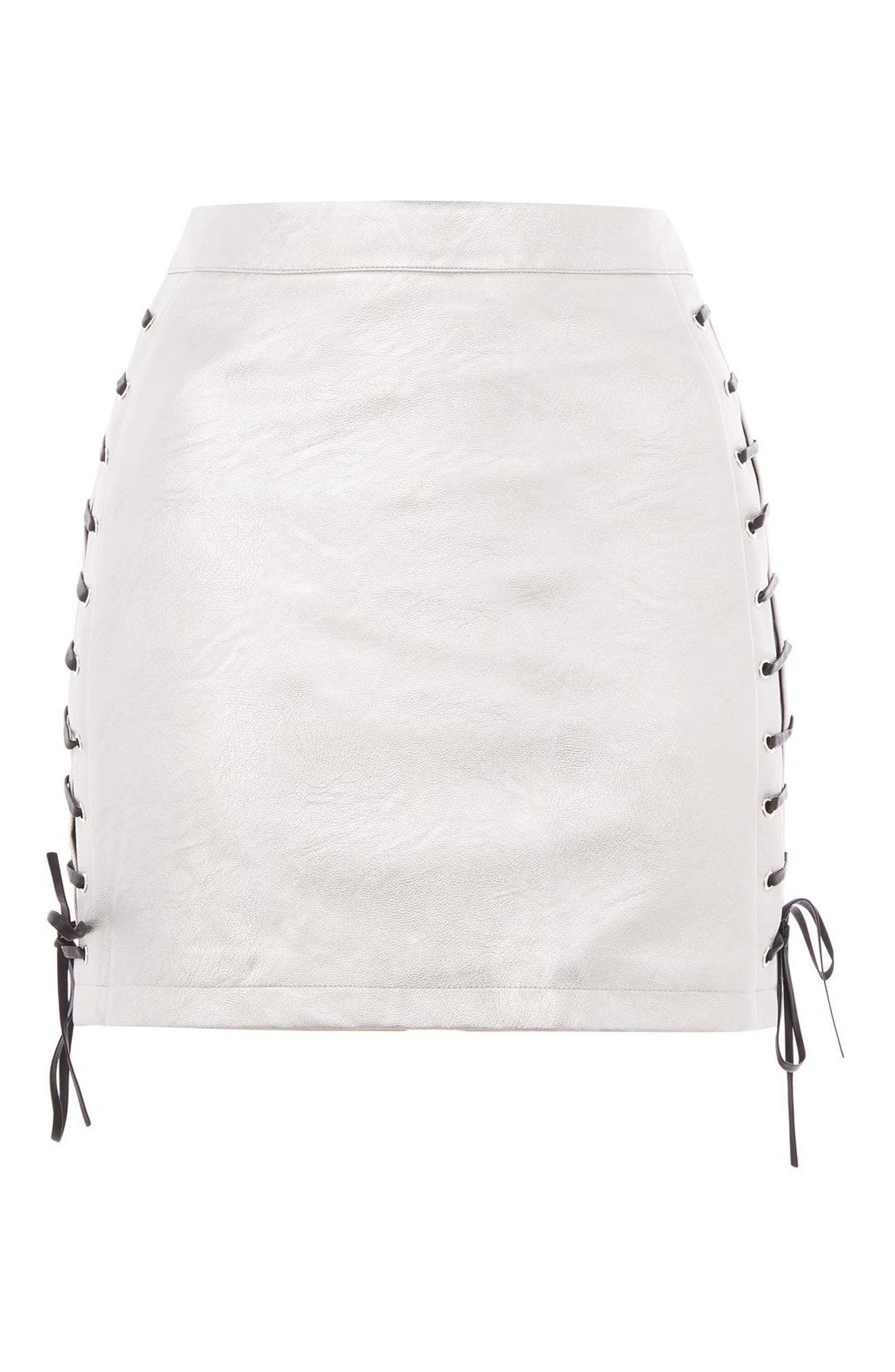 Lace-Up Side Faux Leather Skirt,                             Alternate thumbnail 4, color,                             Silver