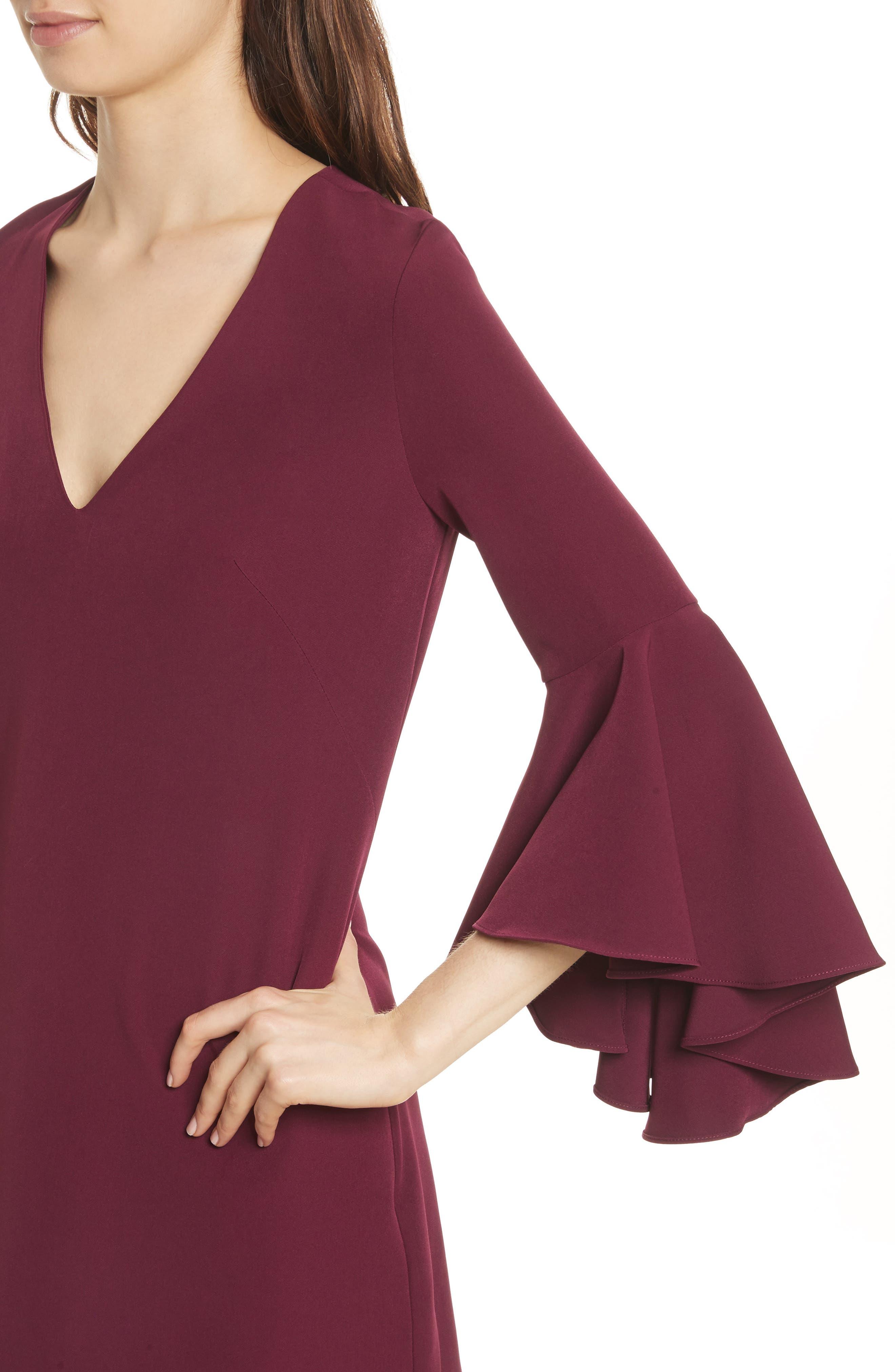 Nicole Bell Sleeve Dress,                             Alternate thumbnail 4, color,                             Burgundy