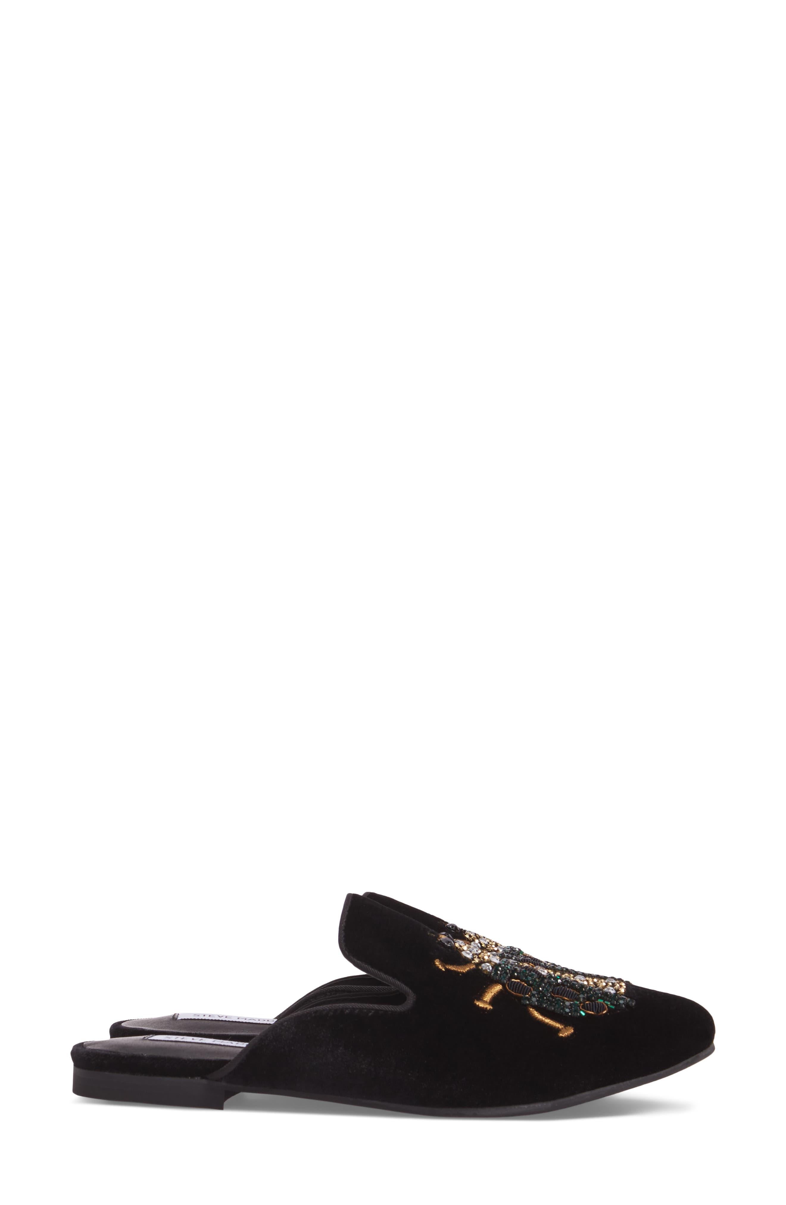 Hugh Embellished Mule,                             Alternate thumbnail 3, color,                             Black Multi Fabric