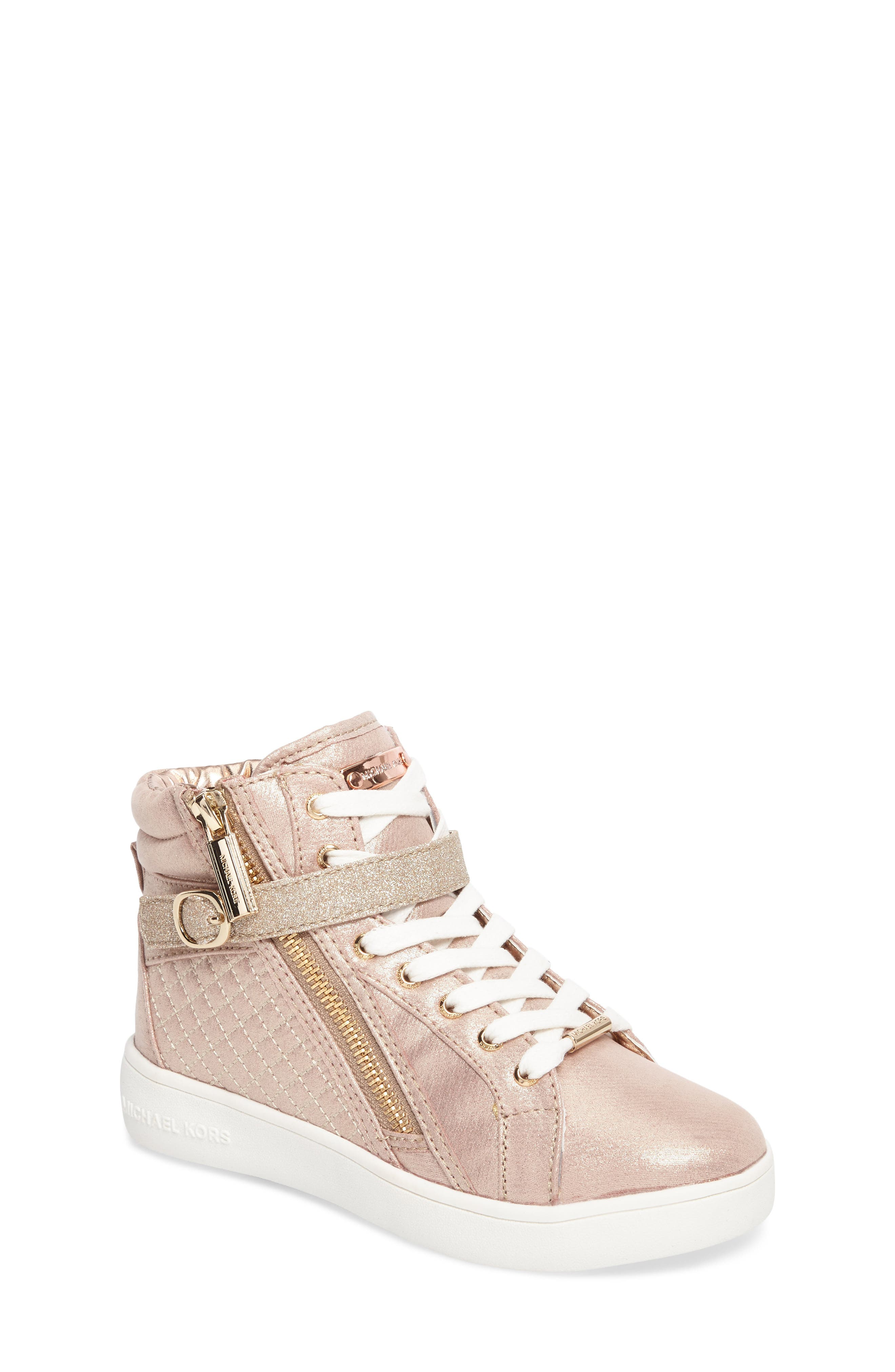 Ivy Rio Glittery High Top Sneaker,                             Main thumbnail 1, color,                             Rose Gold