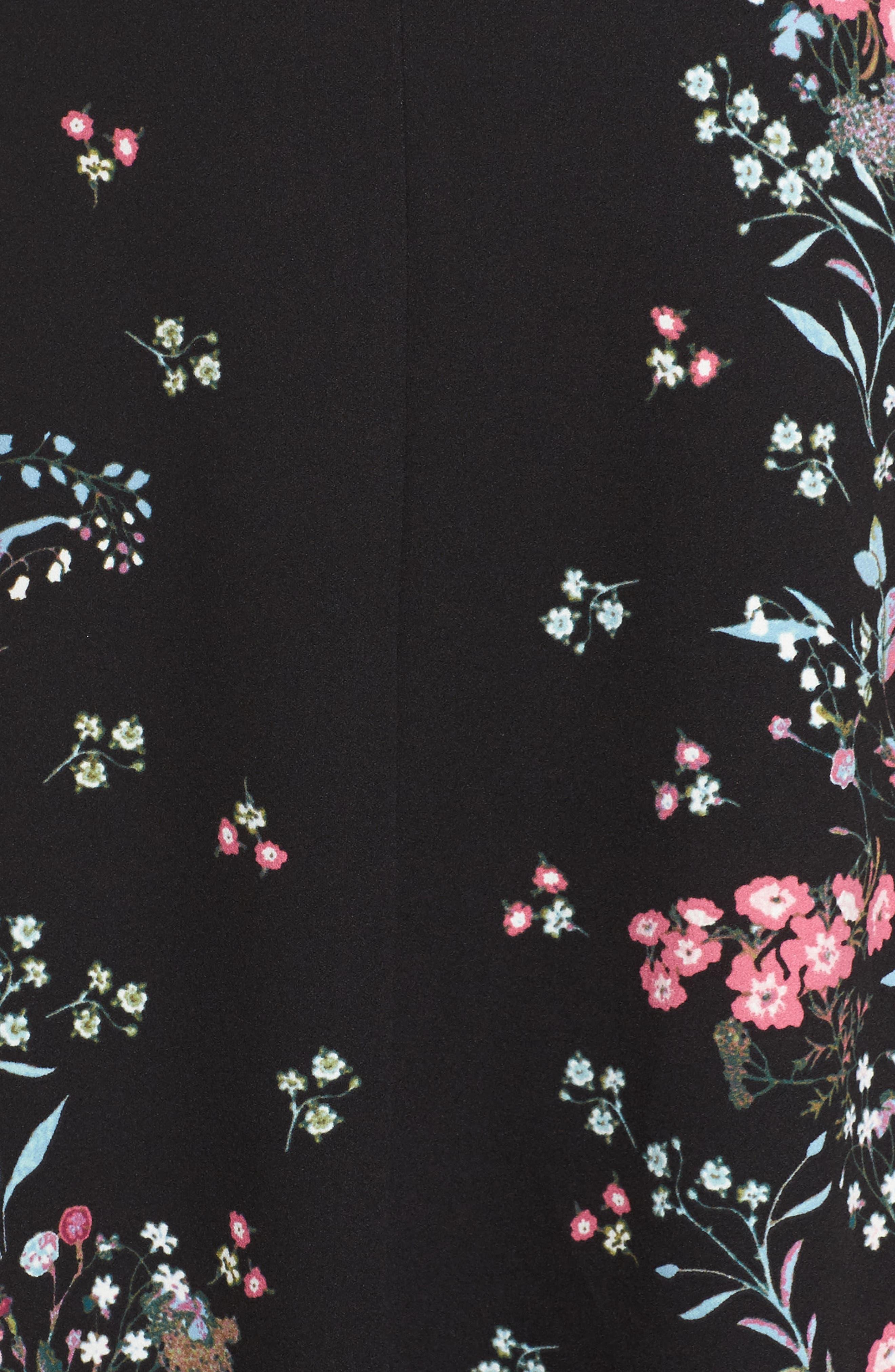Print Scuba Knit Fit & Flare Dress,                             Alternate thumbnail 5, color,                             Black Multi