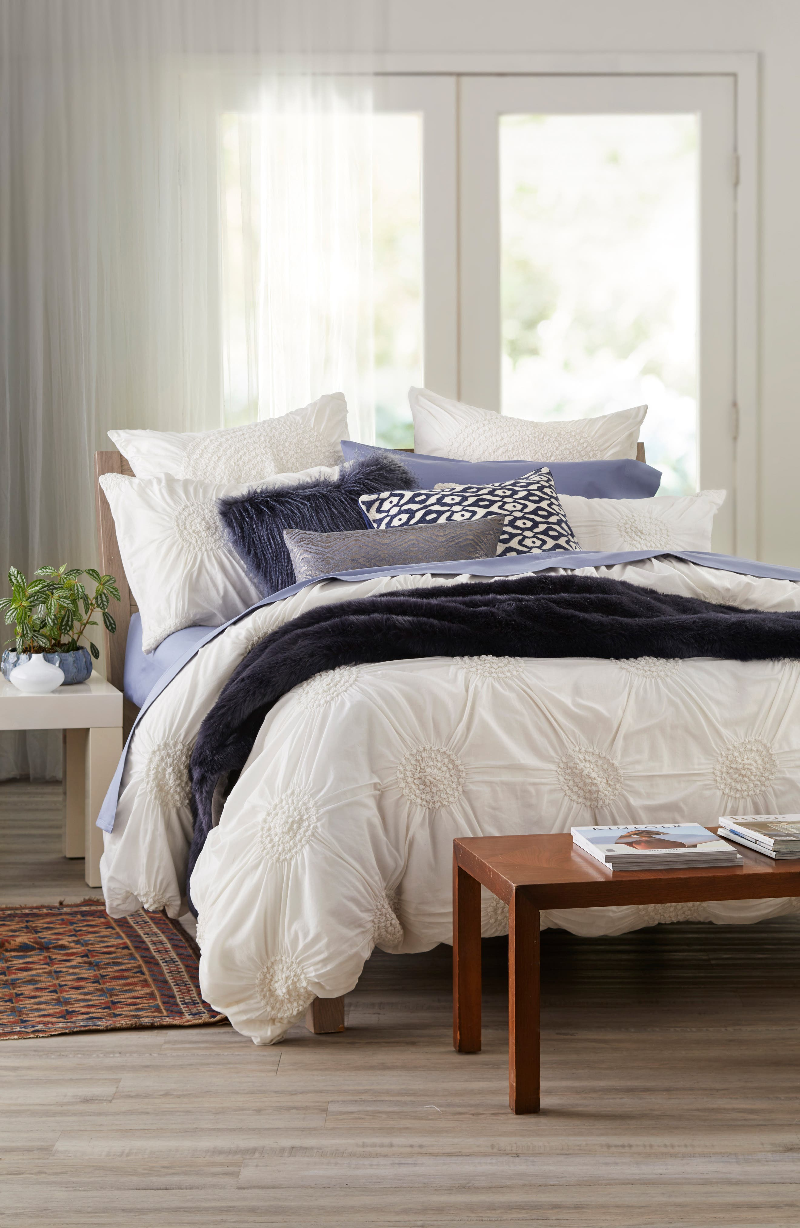 'Chloe' Duvet Cover,                             Alternate thumbnail 3, color,                             White