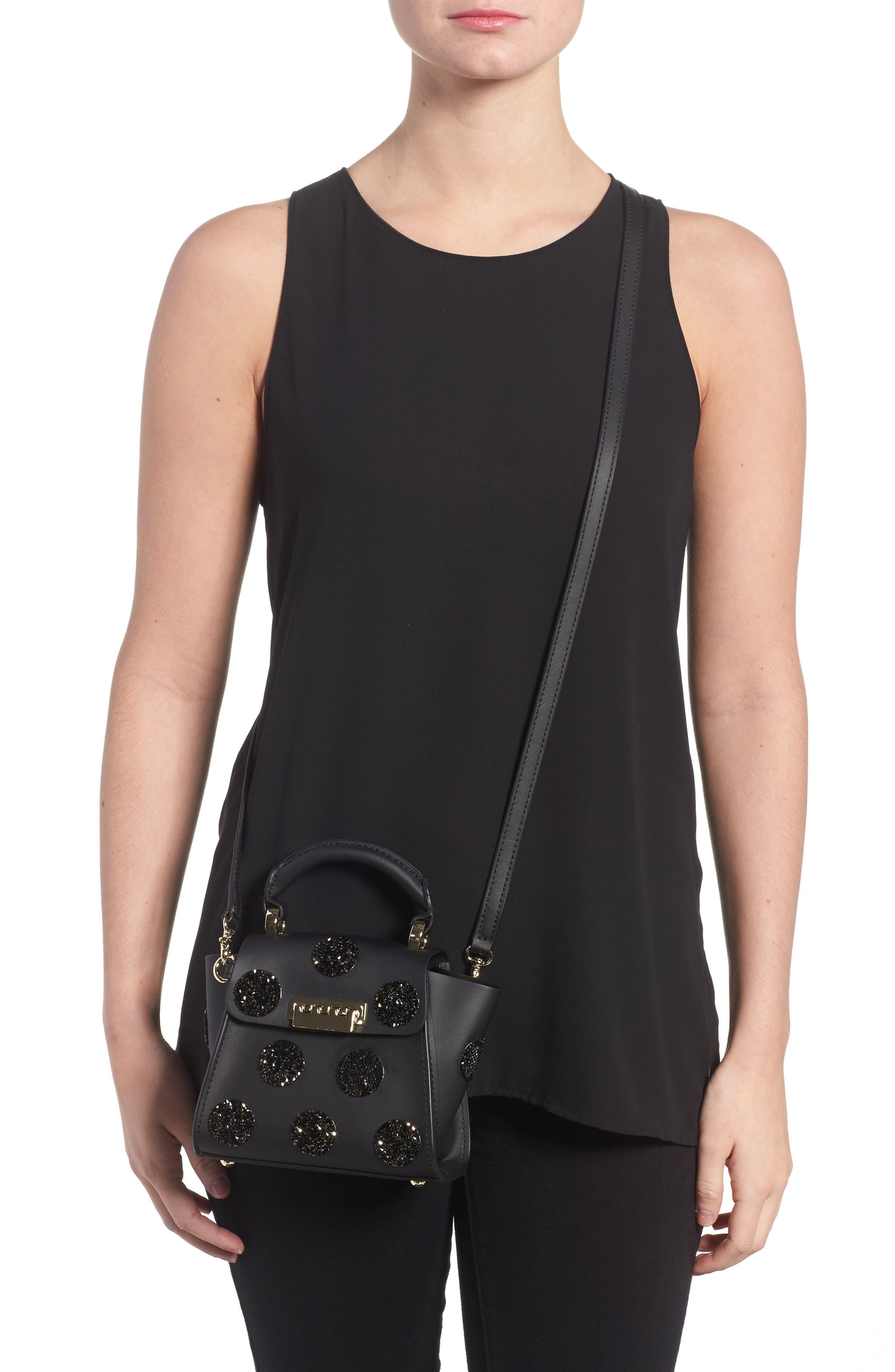 Mini Eartha Iconic Calfskin Leather Top Handle Satchel,                             Alternate thumbnail 2, color,                             Black