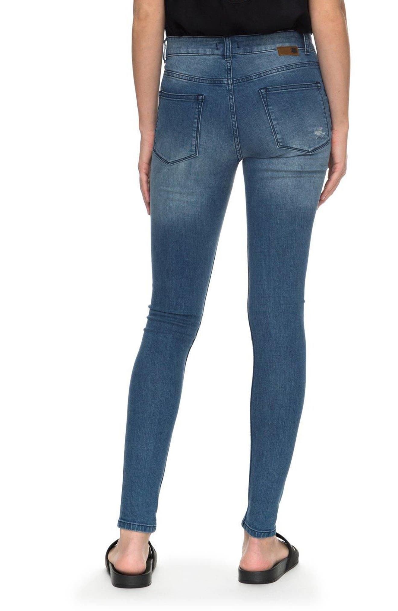 Alternate Image 3  - Roxy Just the Good Day Distressed Skinny Jeans