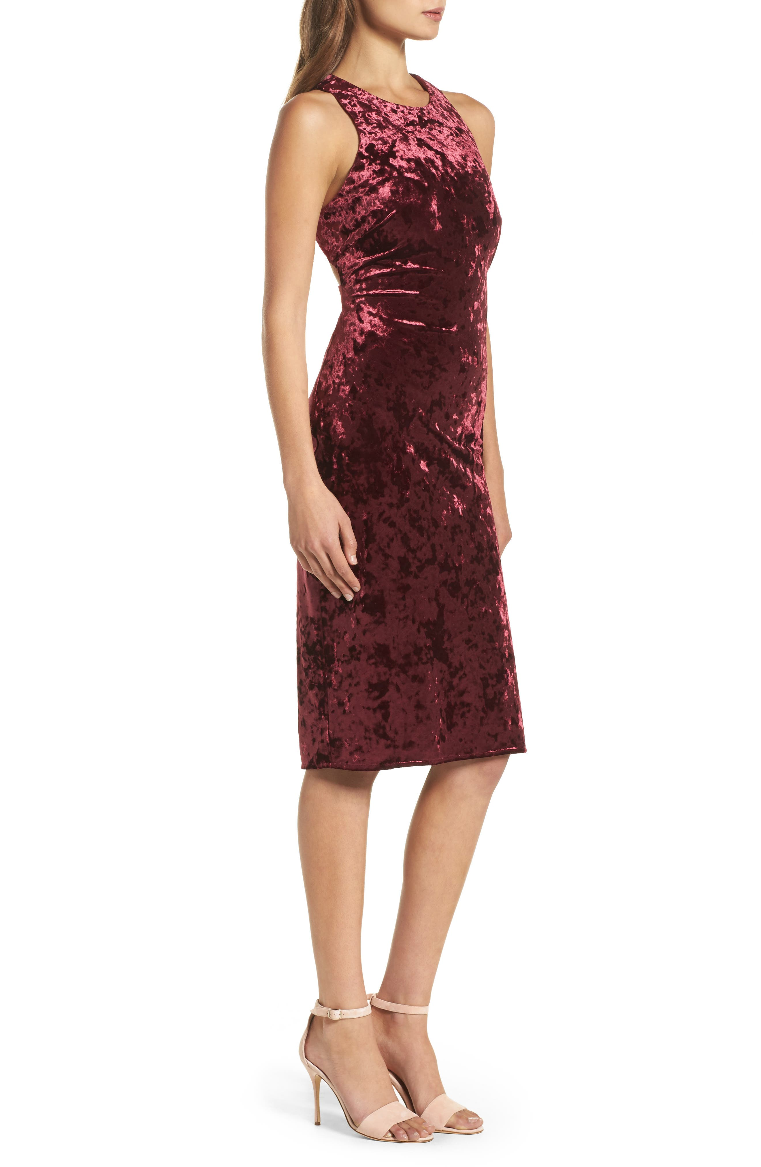 Cutout Back Velvet Sheath Dress,                             Alternate thumbnail 3, color,                             Burgundy